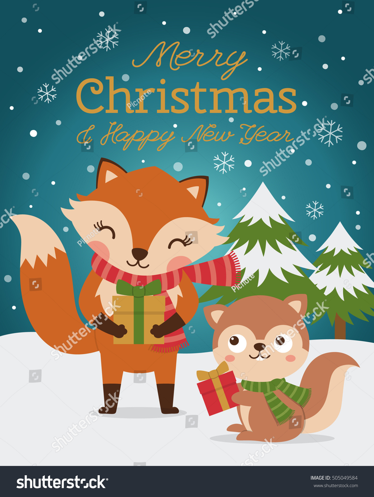 merry christmas and happy new year card with cute fox and squirrel illustration