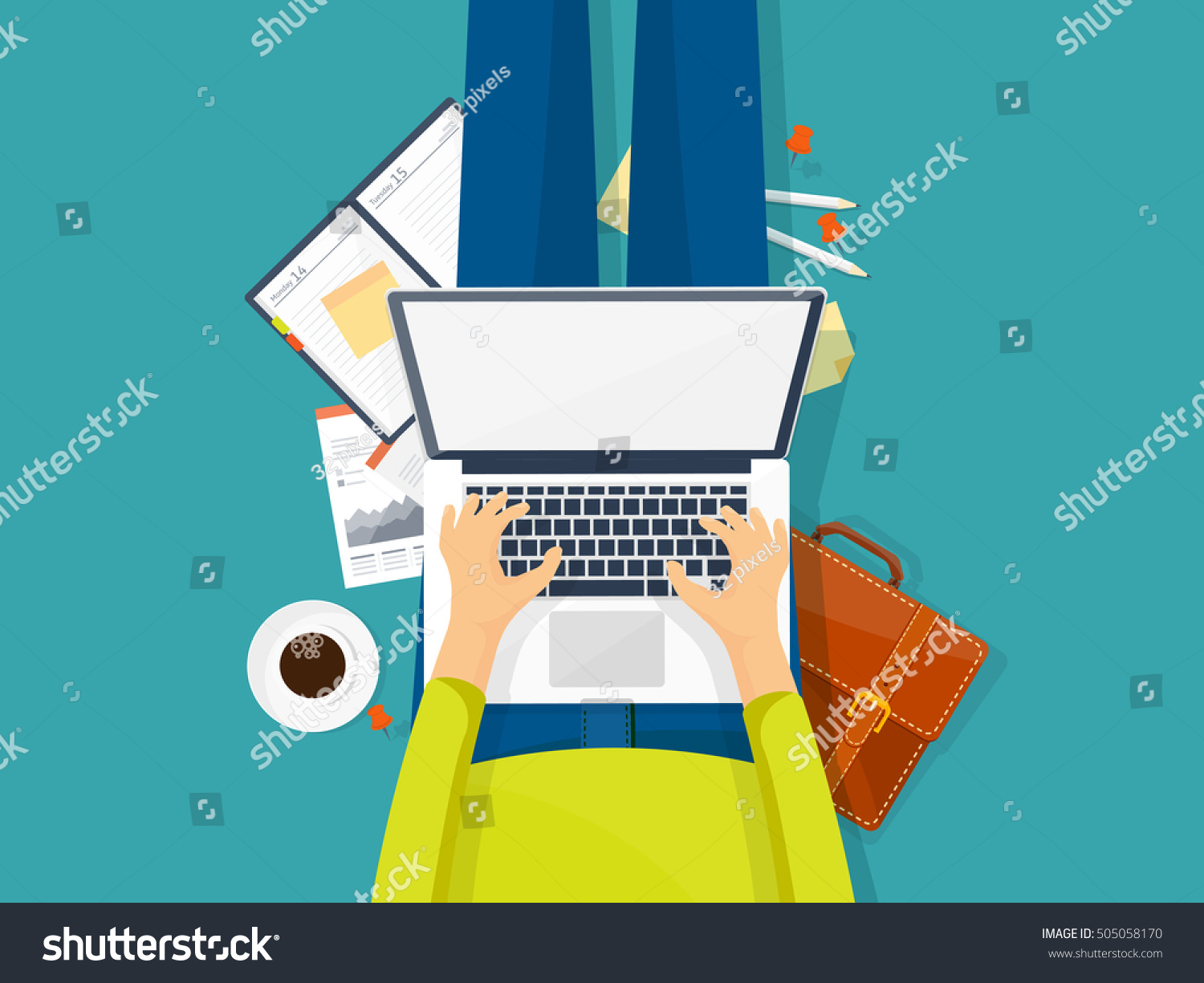 Laptop In Hands. Workplace, Web Design. Internet Surfing. User Interface.  Work