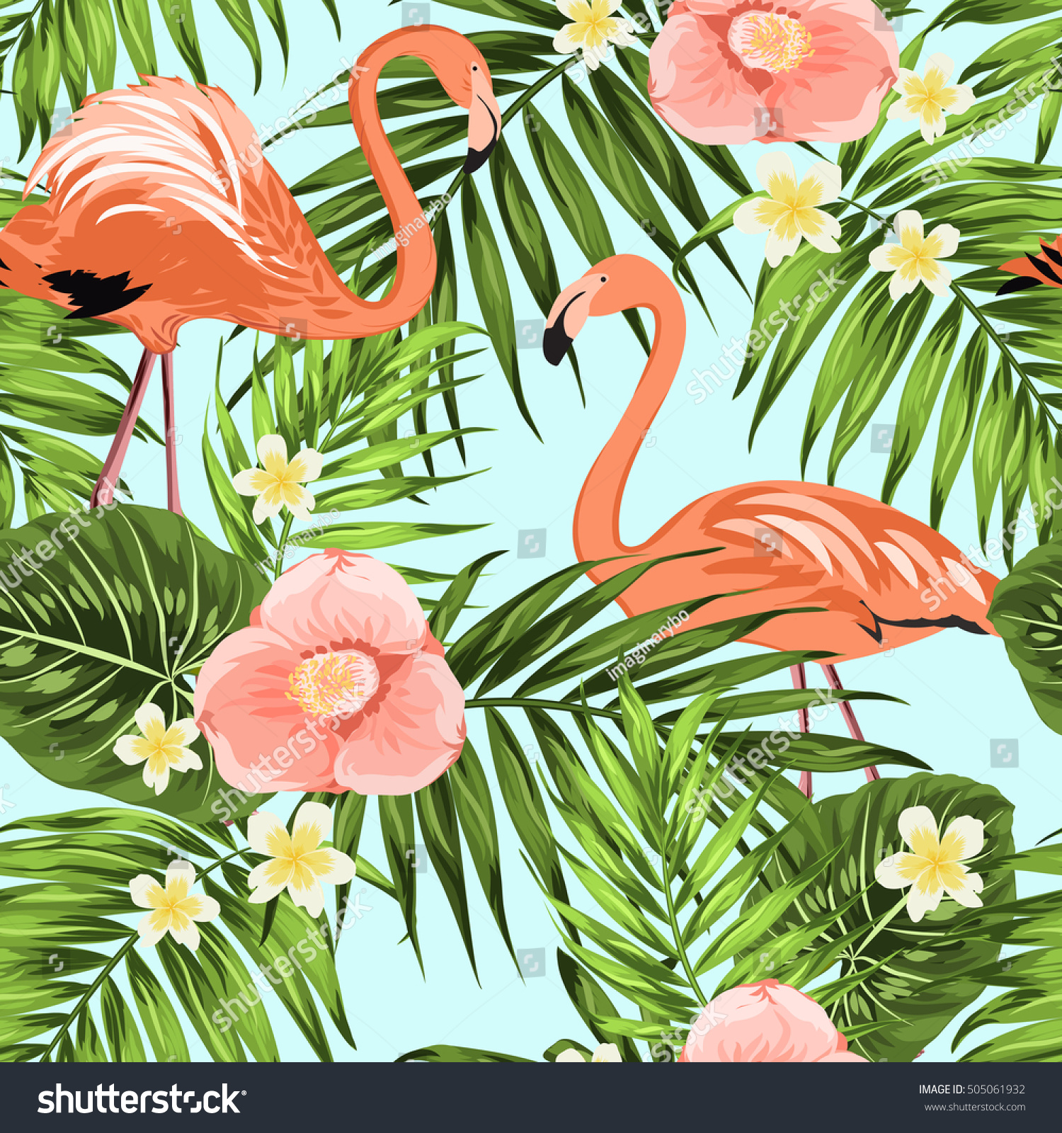 Pink flamingo birds in tropical jungle rain forest Palm tree leaves plumeria and camellia blooming flowers Exotic seamless pattern on light blue background Vector design illustration