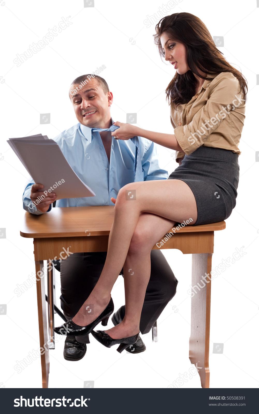 office flirt boss secretary isolated on stock photo edit now