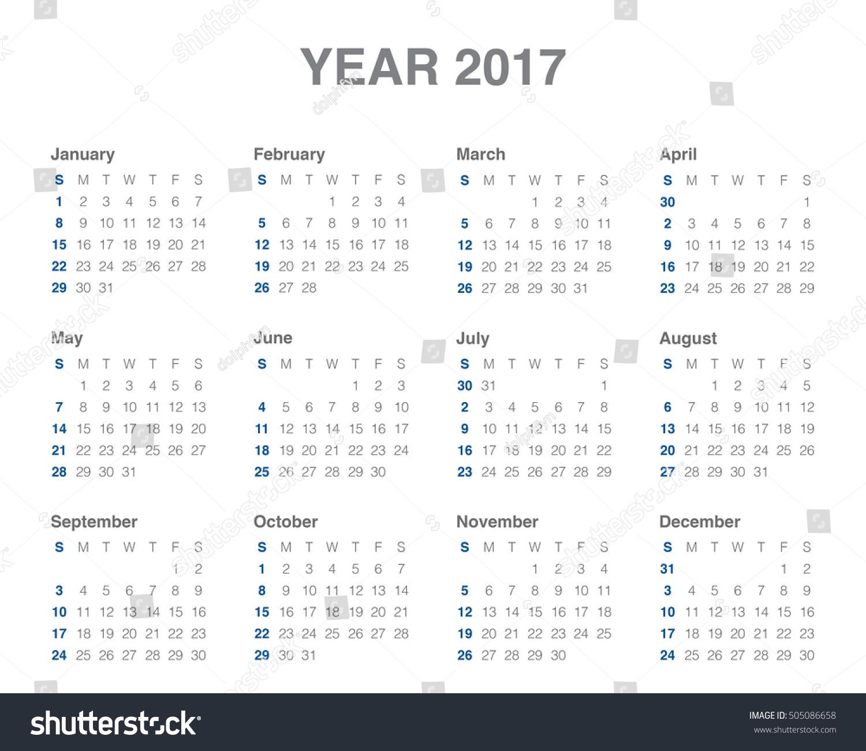 Year Calendar Design : Year calendar vector design template stock