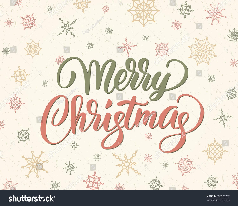Merry christmas brush lettering against background stock