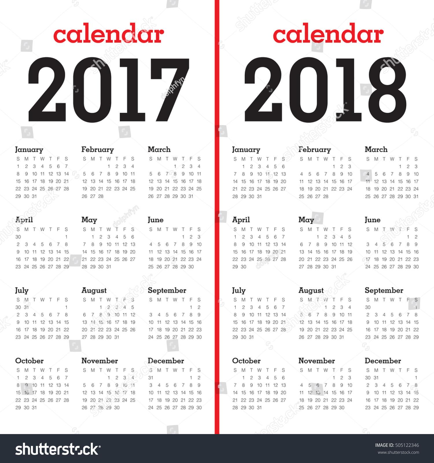 Simple Calendar Template Year 2017 Year Stock Vector 505122346 ...