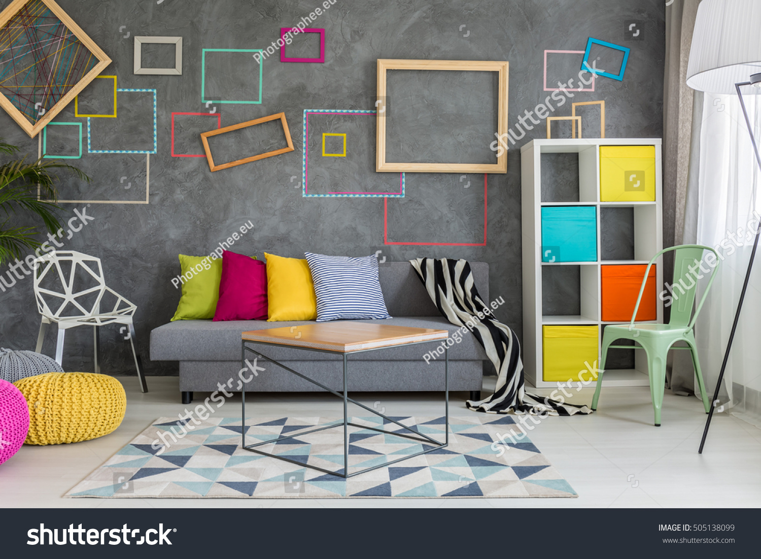 Colorful Wall Decor Spacious Apartment Grey Colorful Wall Decor Stock Photo 505138099