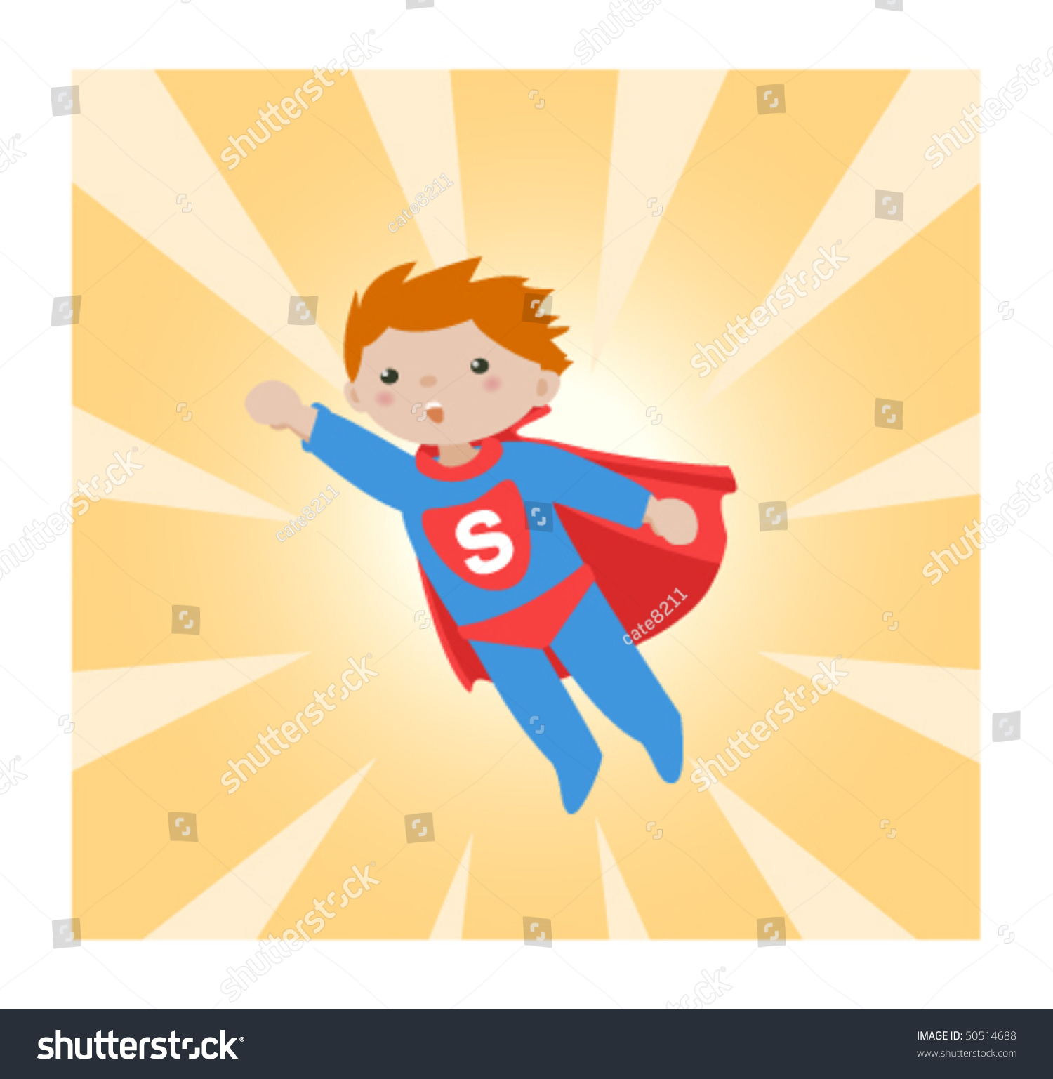 Super Kid Abstract Rays Background Little Boy Stock Vector (2018 ...