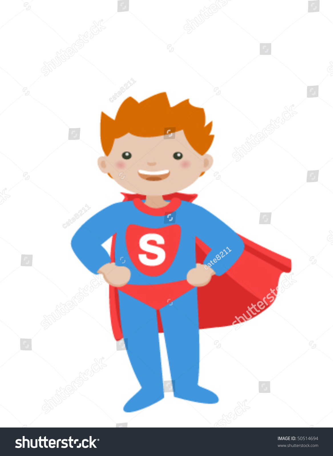 Super Kid Isolated On White Background Little Stock Vector 50514694 ...