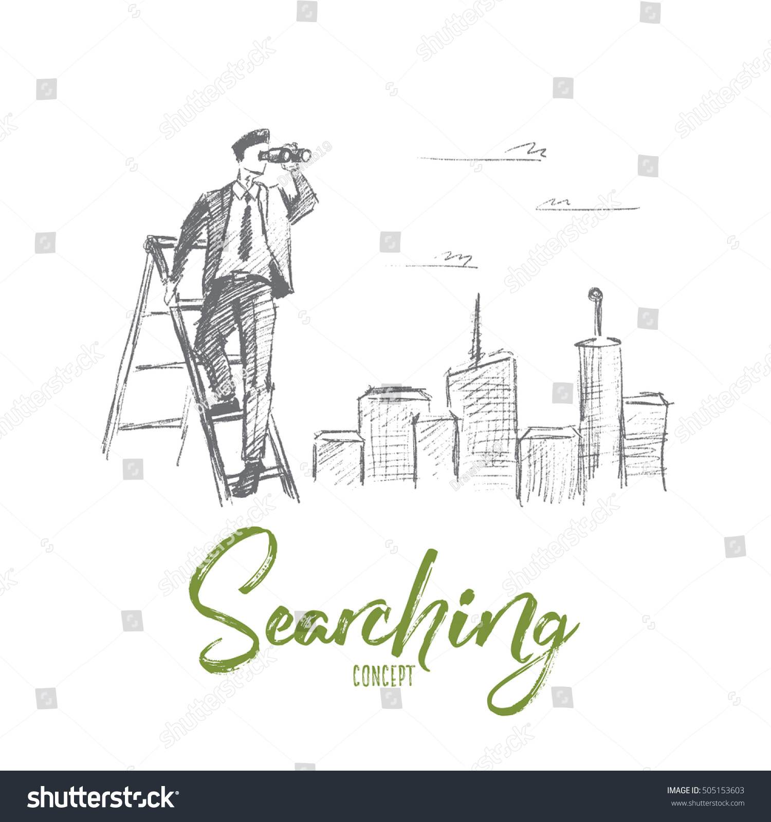 Vector Hand Drawn Searching Concept Sketch Stock Vector HD (Royalty ...