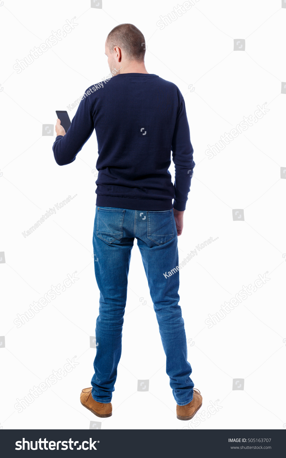 Back View Man Suit Talking On Stock Photo 505163707 ...