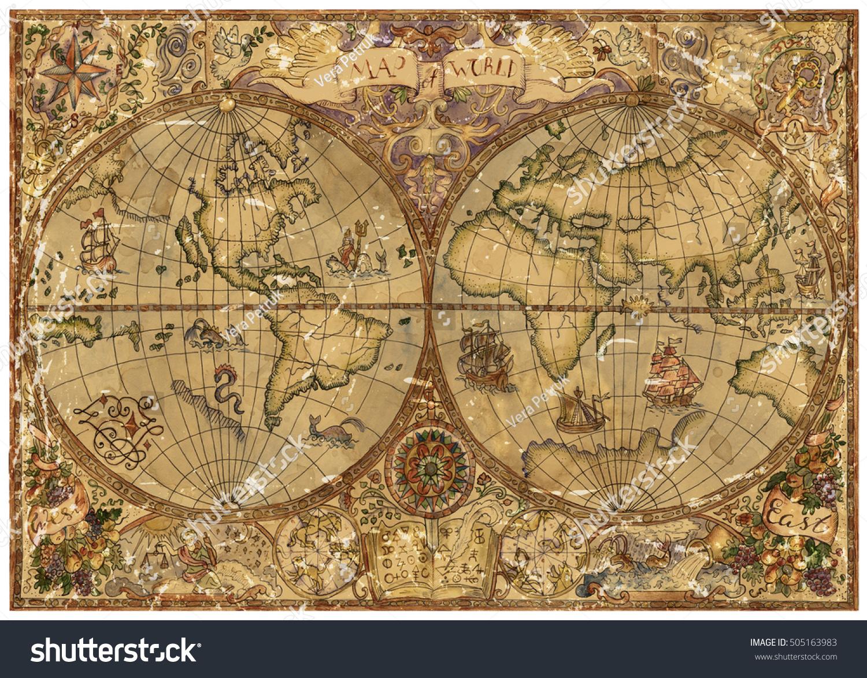 Vintage Illustration World Atlas Map On Stock Illustration - Us parchment map