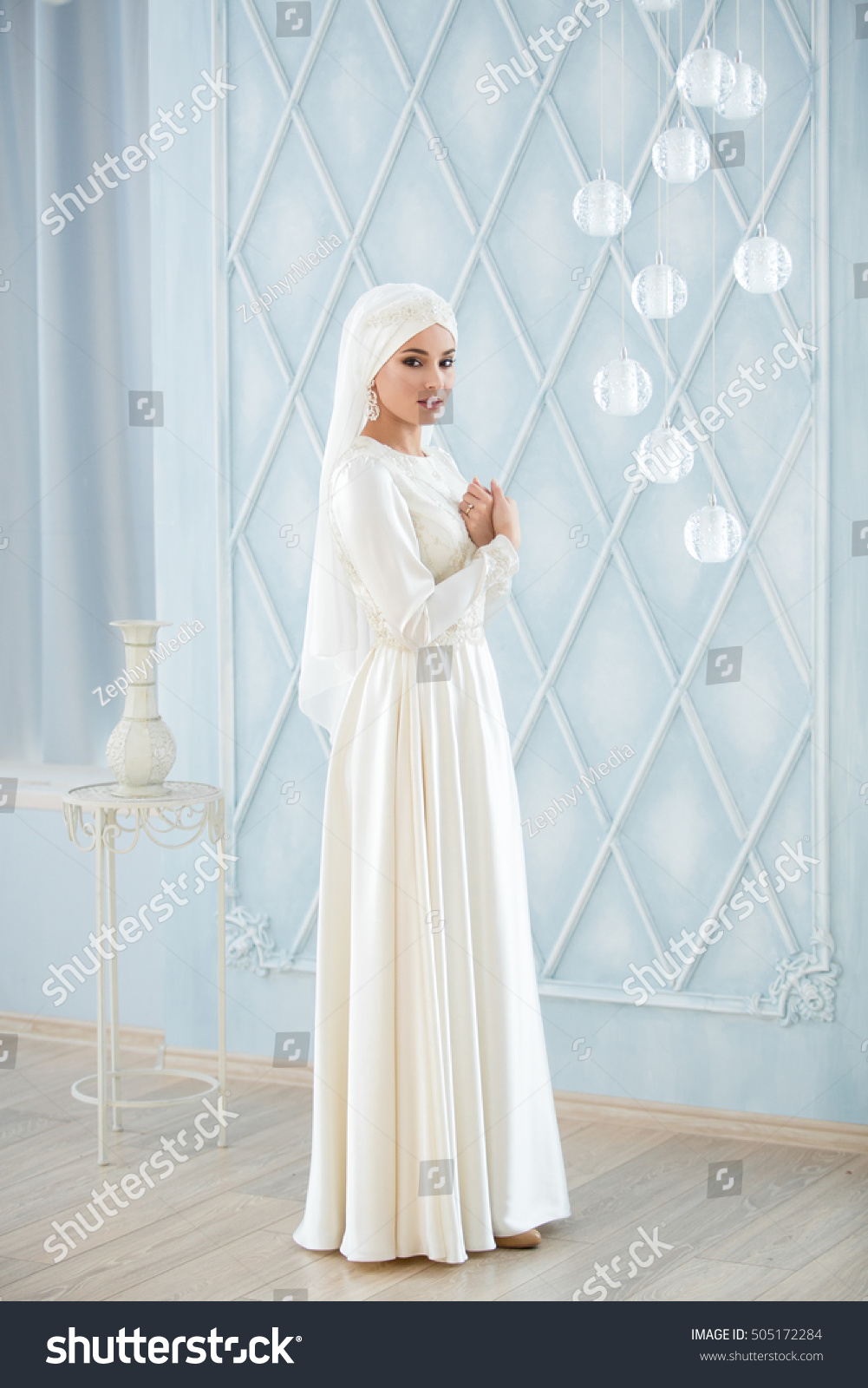 Young Beautiful Bride White Traditional Muslim Stock Photo (Royalty ...