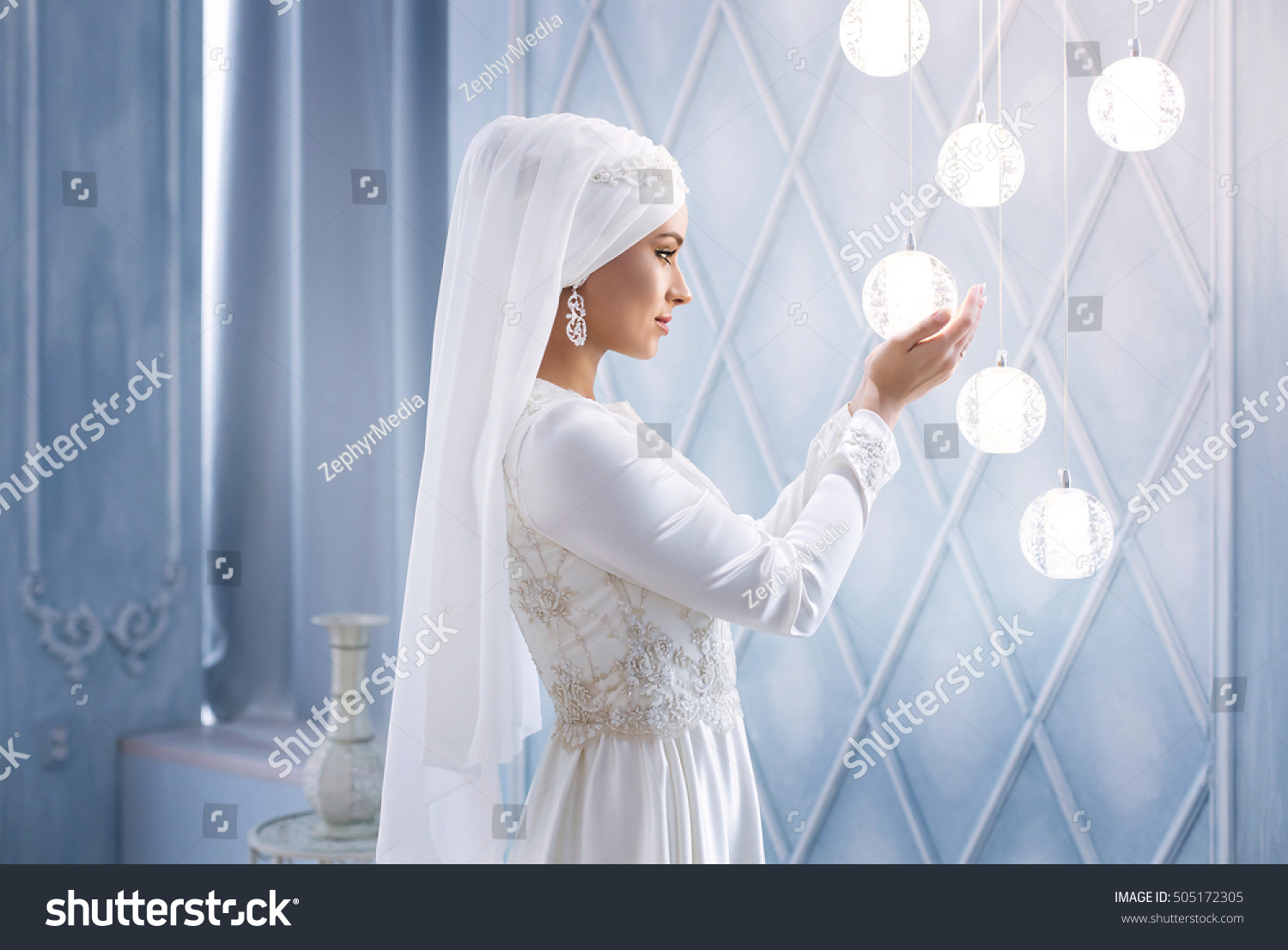 Young Beautiful Bride White Traditional Muslim Stock Photo 100
