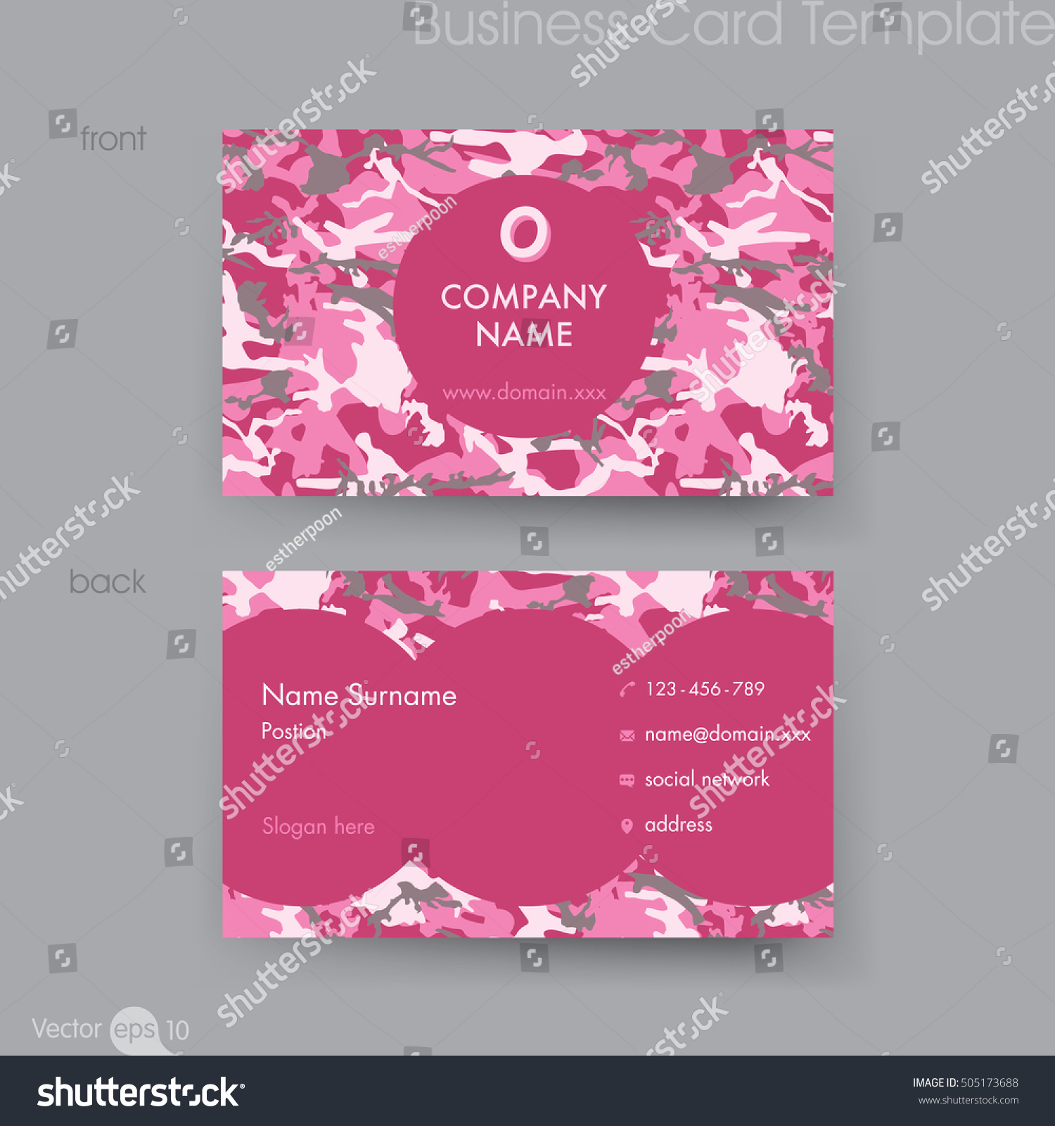 Camouflage Pattern Business Card Template Stock Vector 505173688 ...