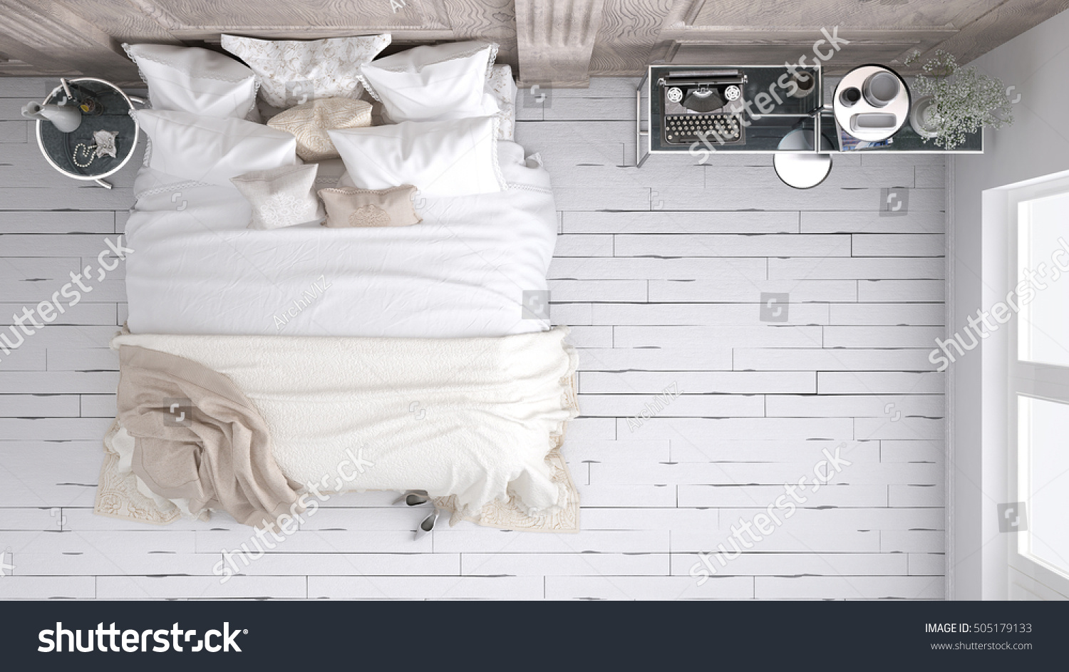 Classic Bedroom Top View 3d Illustration Stock Illustration 505179133
