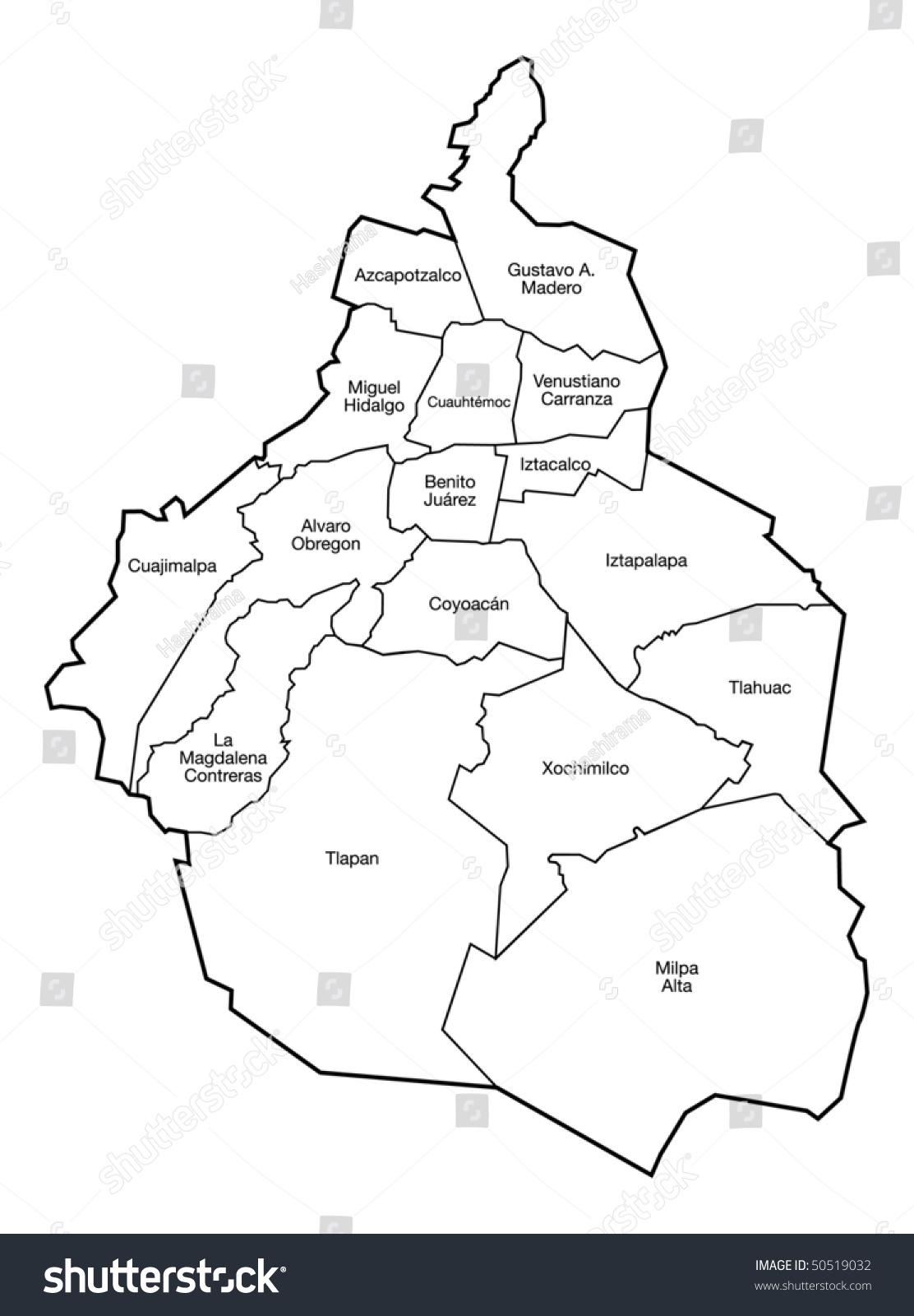 distrito federal map mexico city stock vector 50519032 shutterstock