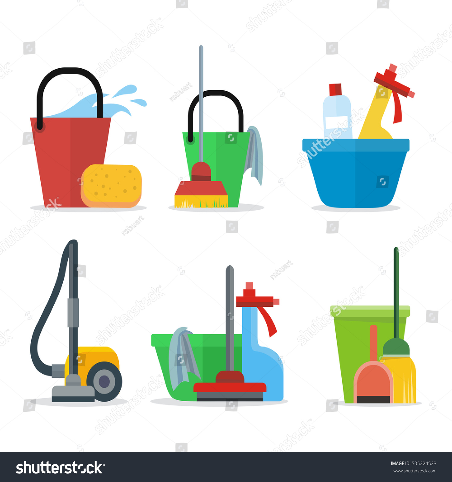 Building Cleaning Equipment : Set cleaning equipment bucket mop sponge stock vector