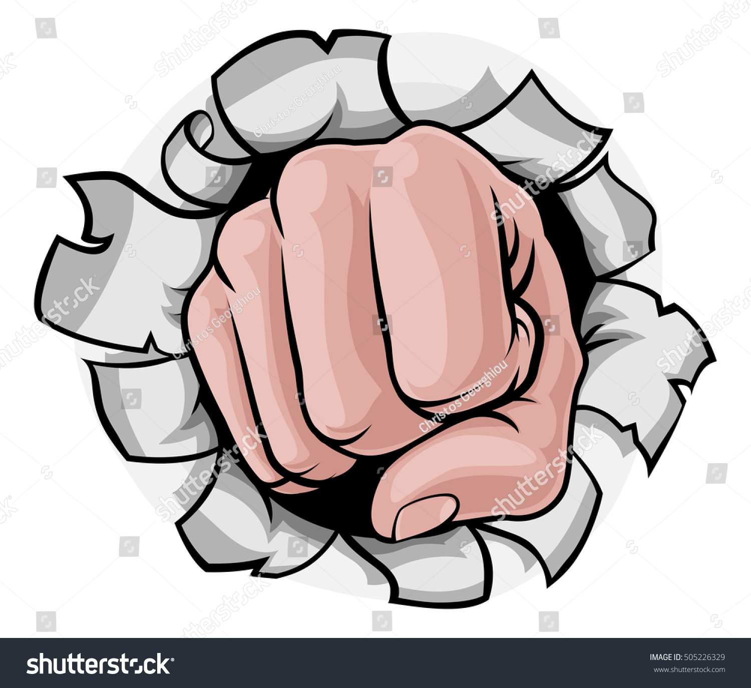 Cartoon Hand Fist Punching Knuckles Front Stock Illustration ...