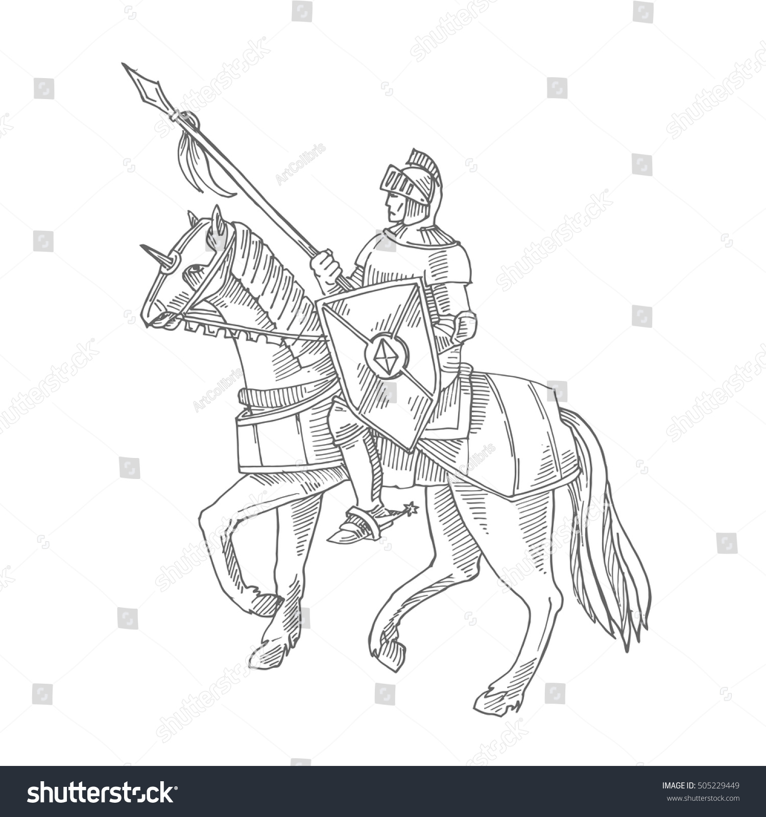 Knight Armor On Horse Medieval Knight Stock Vector (Royalty Free ...