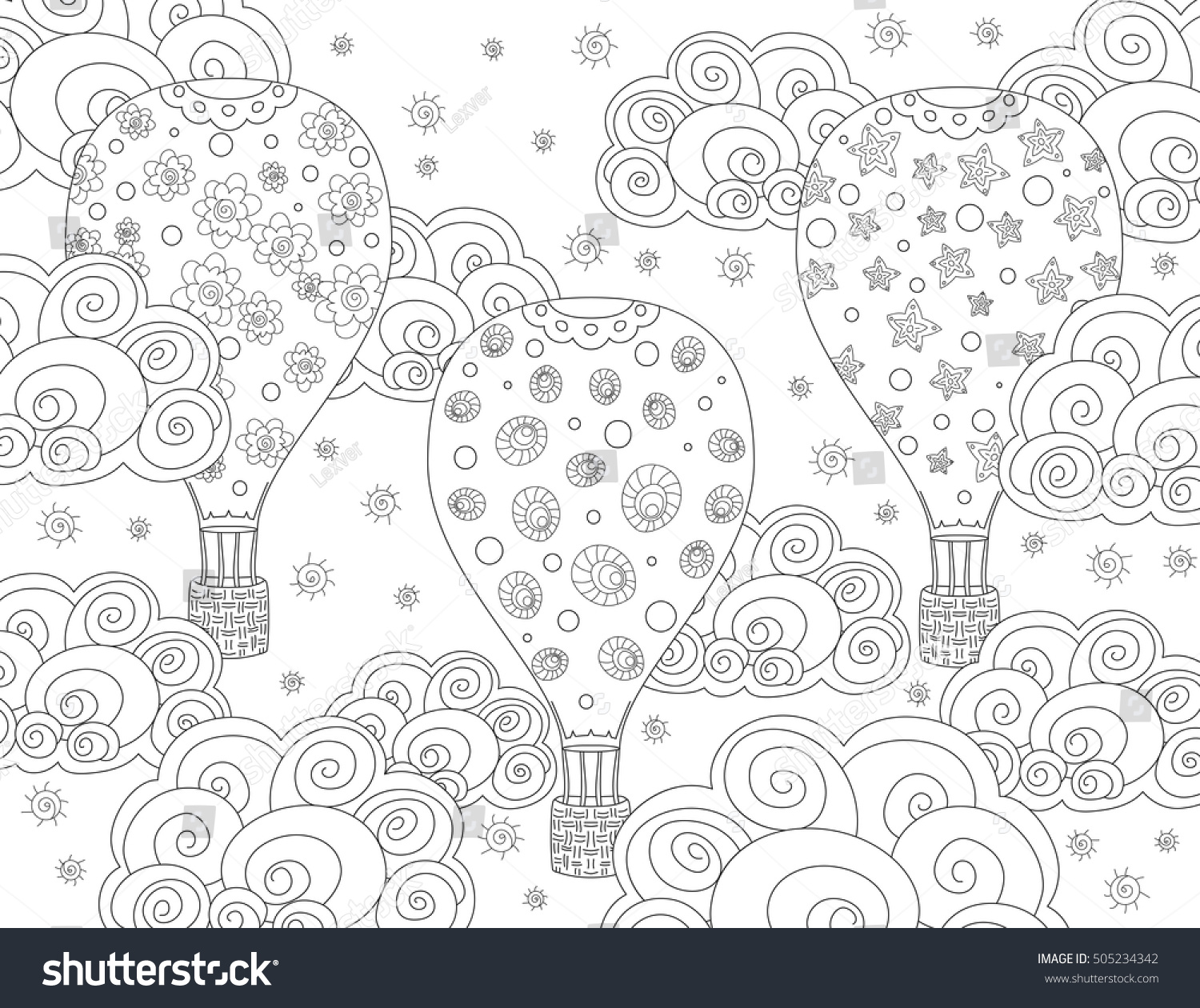 Vector Antistress Coloring Book Page Adult Stock Vector