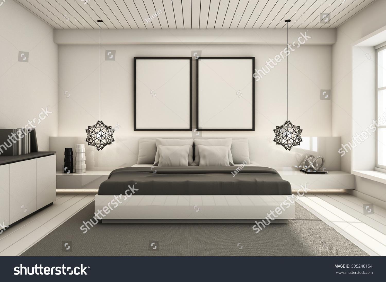 Bedroom Under Roof Interior Design Modern Stock Illustration 505248154