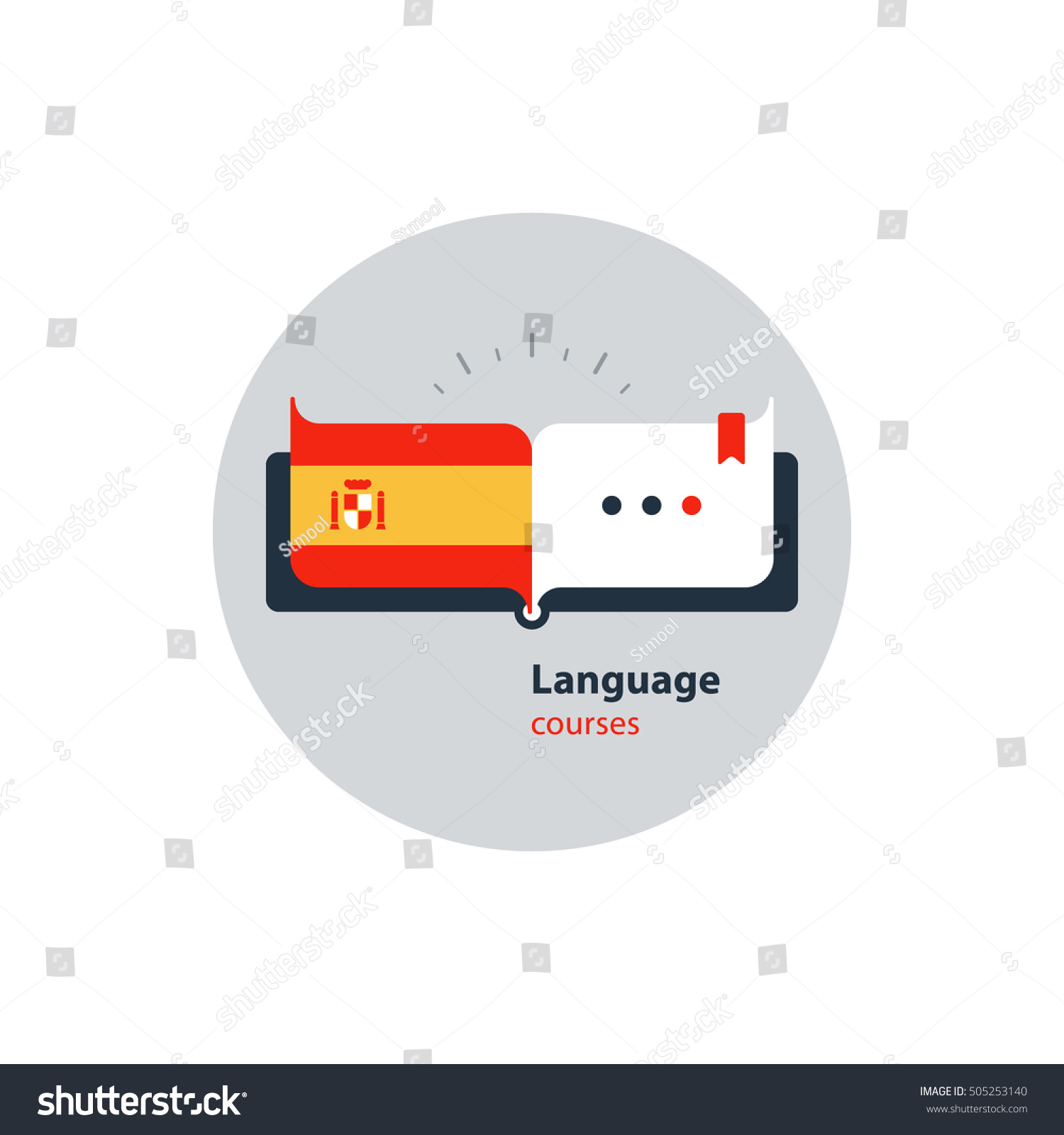 Spanish language courses advertising concept Fluent speaking foreign language Advertising concept lingual classes Flat design vector illustration