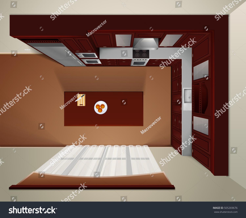Modern Luxury Kitchen Dark Wood Corner Stock Vector Royalty