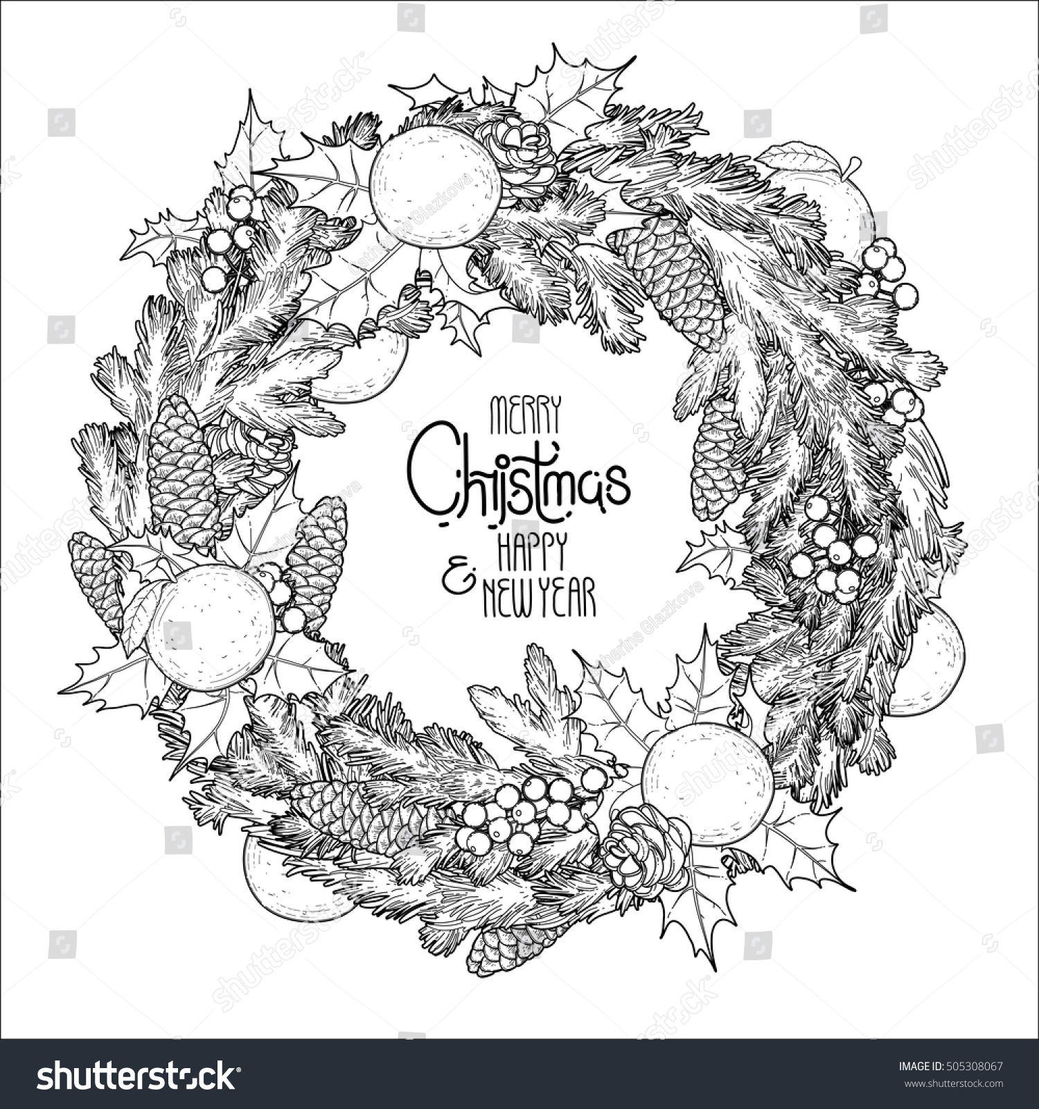 Christmas Fir Wreath Mandarins Holly Coloring Stock Vector 505308067 ...