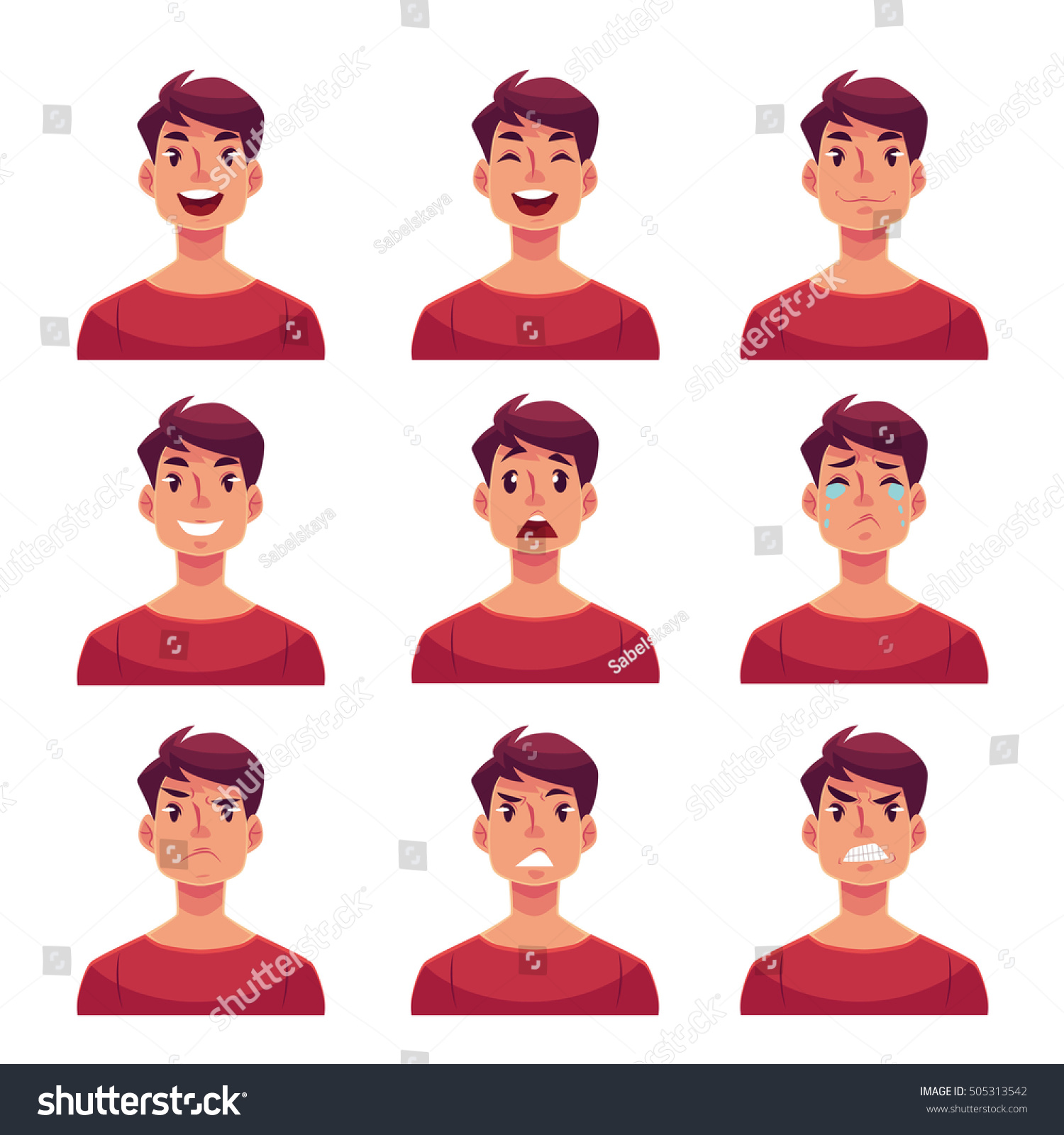 young man face expression set cartoon vector de stock libre de