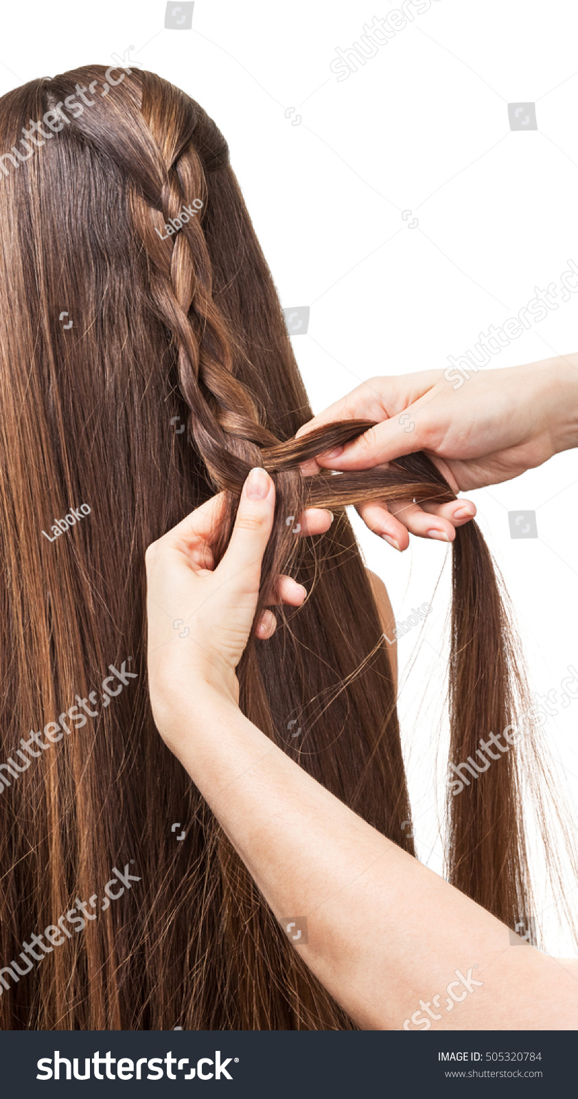 Long Brown Hair Weave Into Braid Stock Photo Edit Now 505320784