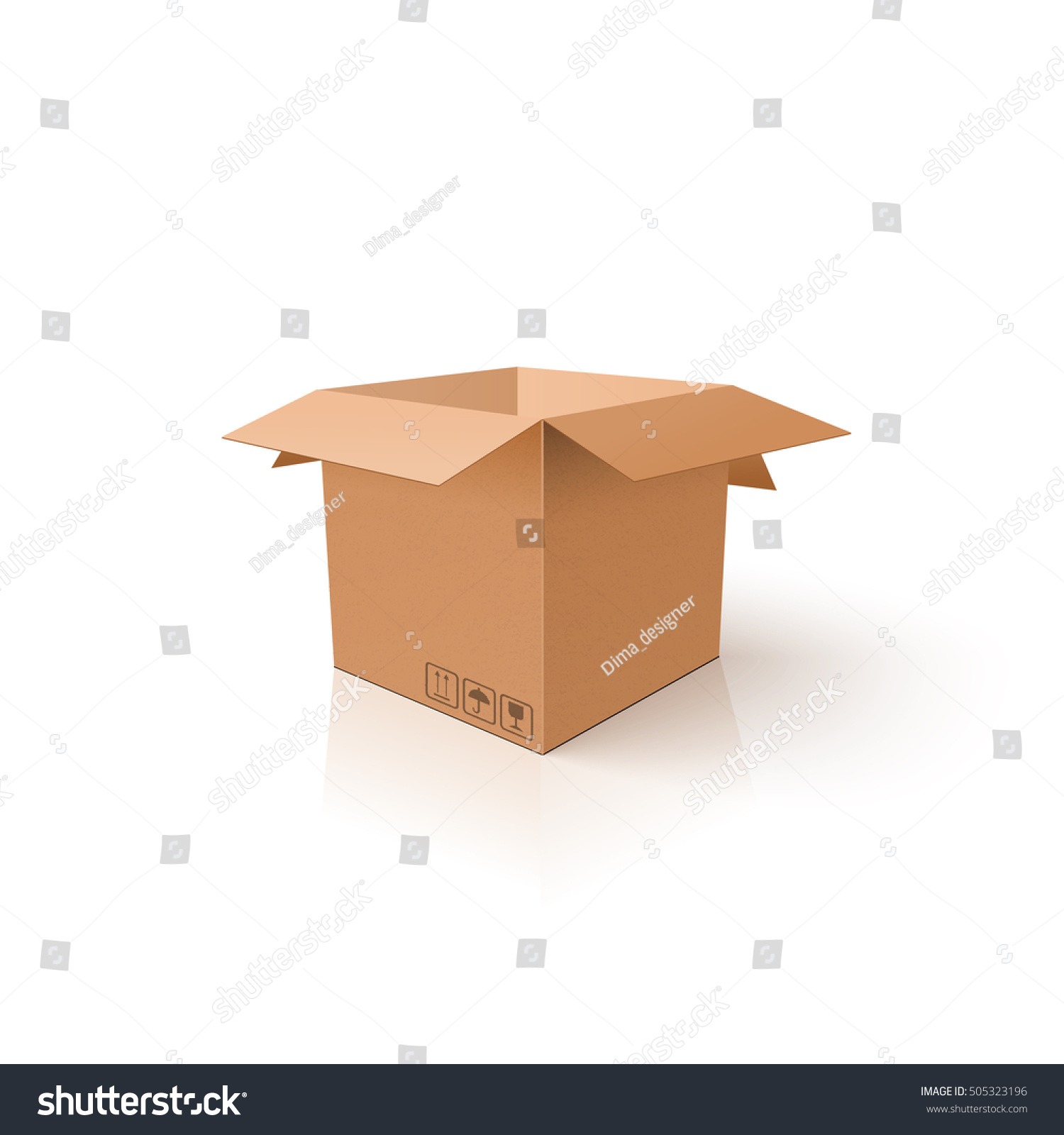 3d Box Clean Opened Carton Package Vectores En Stock 505323196 ...
