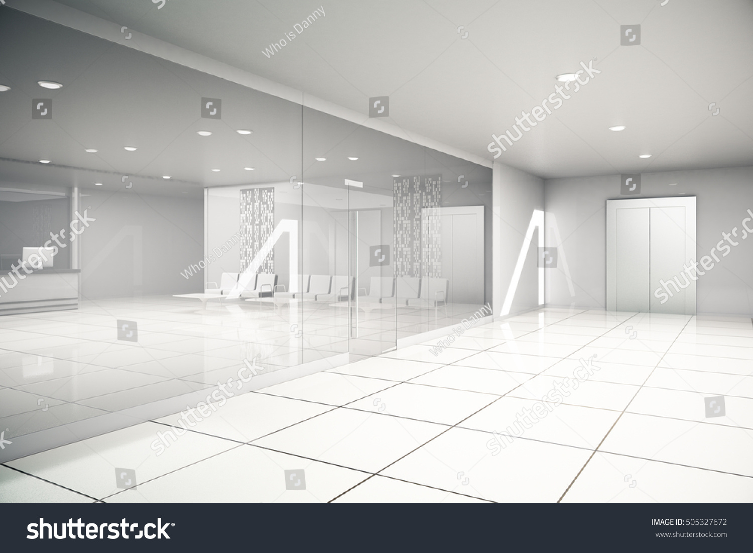 Luxurious light business interior reception waiting stock luxurious light business interior with reception waiting area glass doors tile floors and dailygadgetfo Images