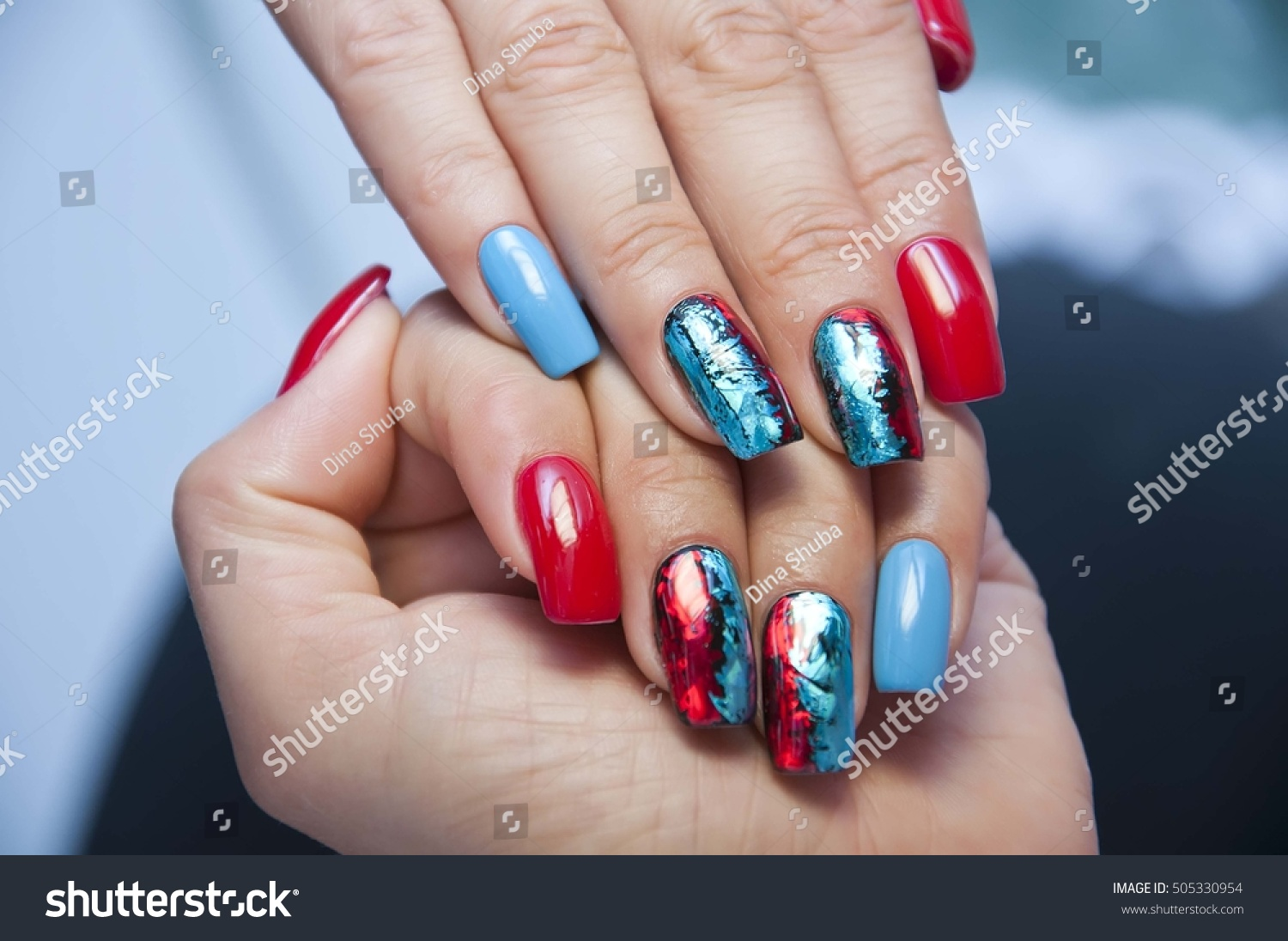 Blue Red Manicure Foil On Long Stock Photo (Royalty Free) 505330954 ...