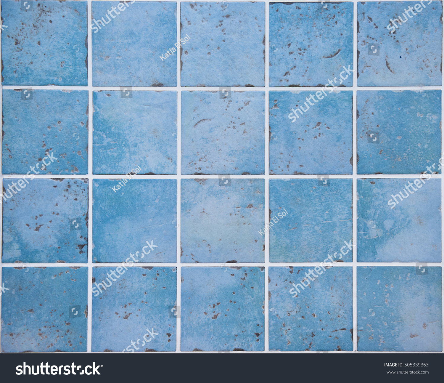 Wall Ocean Blue Colored Ceramic Tiles Stock Photo & Image (Royalty ...