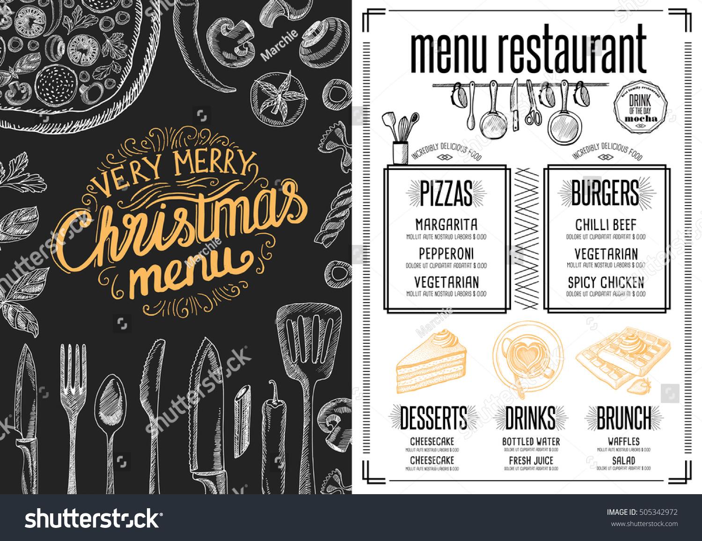 christmas restaurant brochure menu template vector stock vector