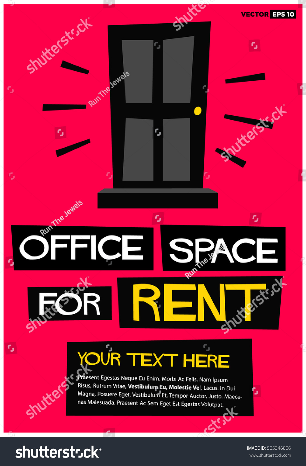 Office Space Rent Poster Banner Board Stock Vector - For rent advertisement template