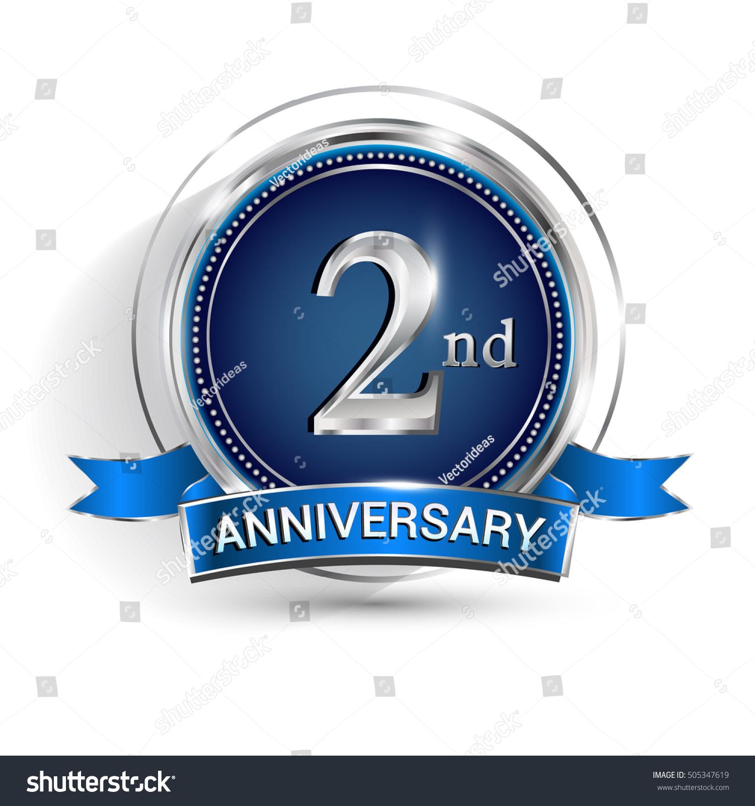 Celebrating nd anniversary logo silver ring stock vector