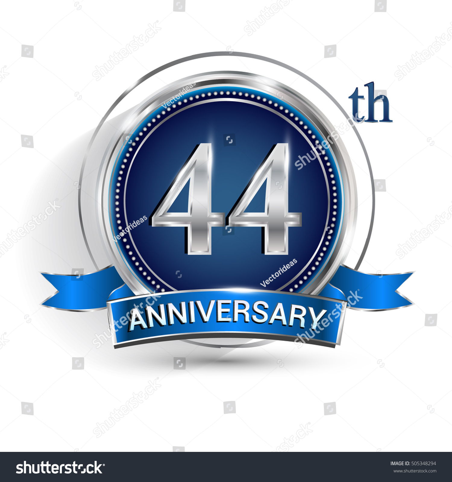 Celebrating 44th anniversary logo silver ring stock vector celebrating 44th anniversary logo with silver ring and blue ribbon isolated on white background biocorpaavc Gallery