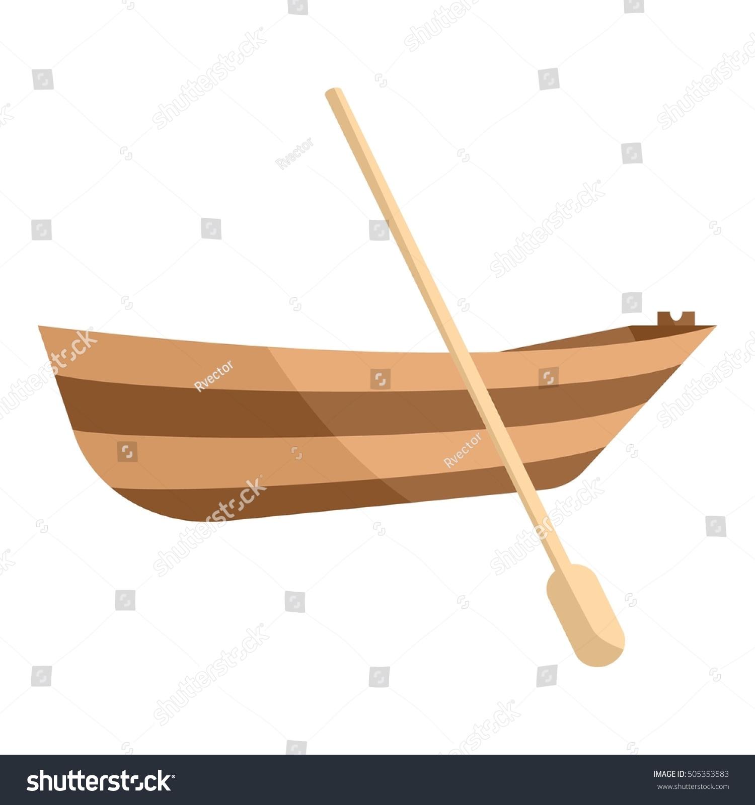 wooden boat paddle icon cartoon illustration stock illustration