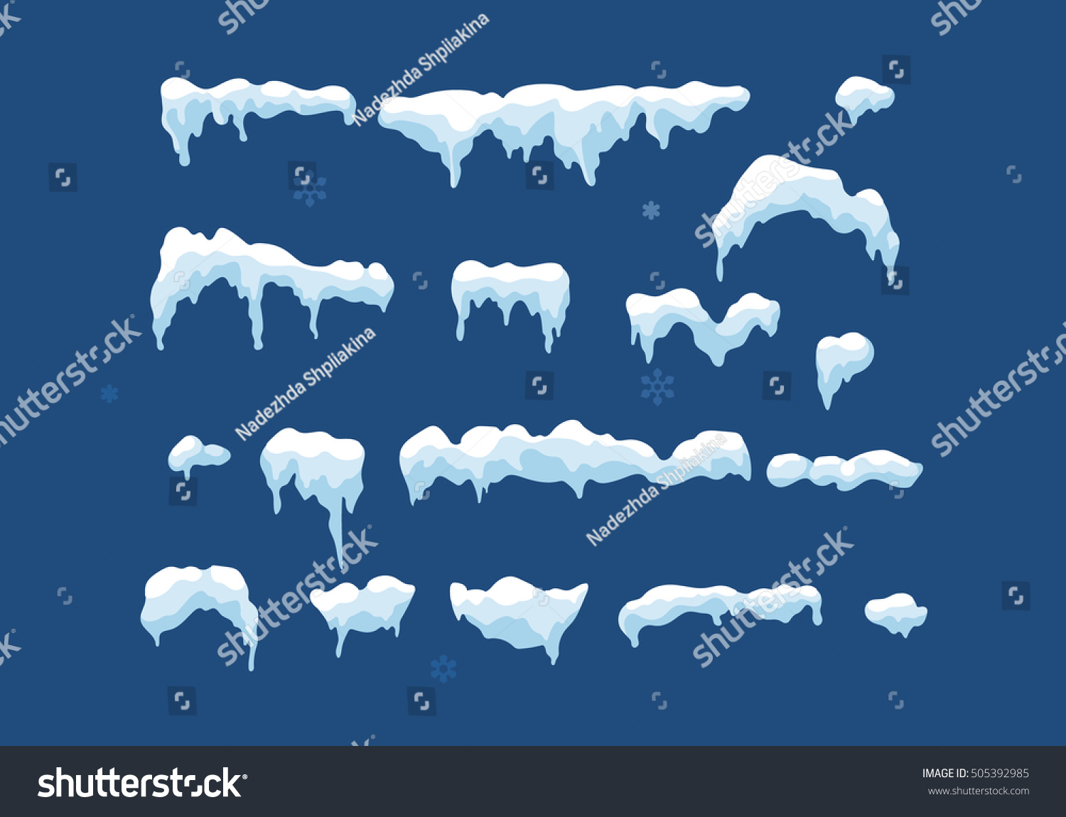Set of Isolated snow cap. Snowy elements on winter background. Vector template in cartoon style for your design. Snowfall and snowflakes in motion