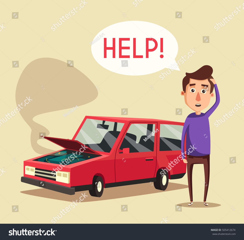 Broken Car Vector Cartoon Illustration Need Stock Vector ...
