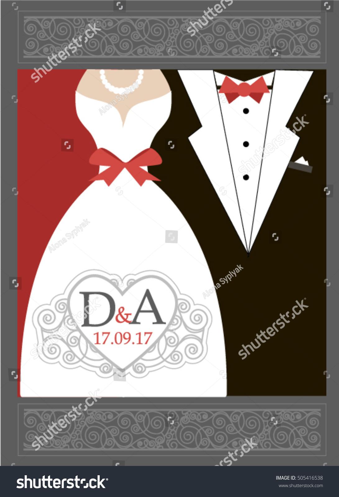Bride Groom Wedding Invitation Red Black Stock Vector (Royalty Free ...