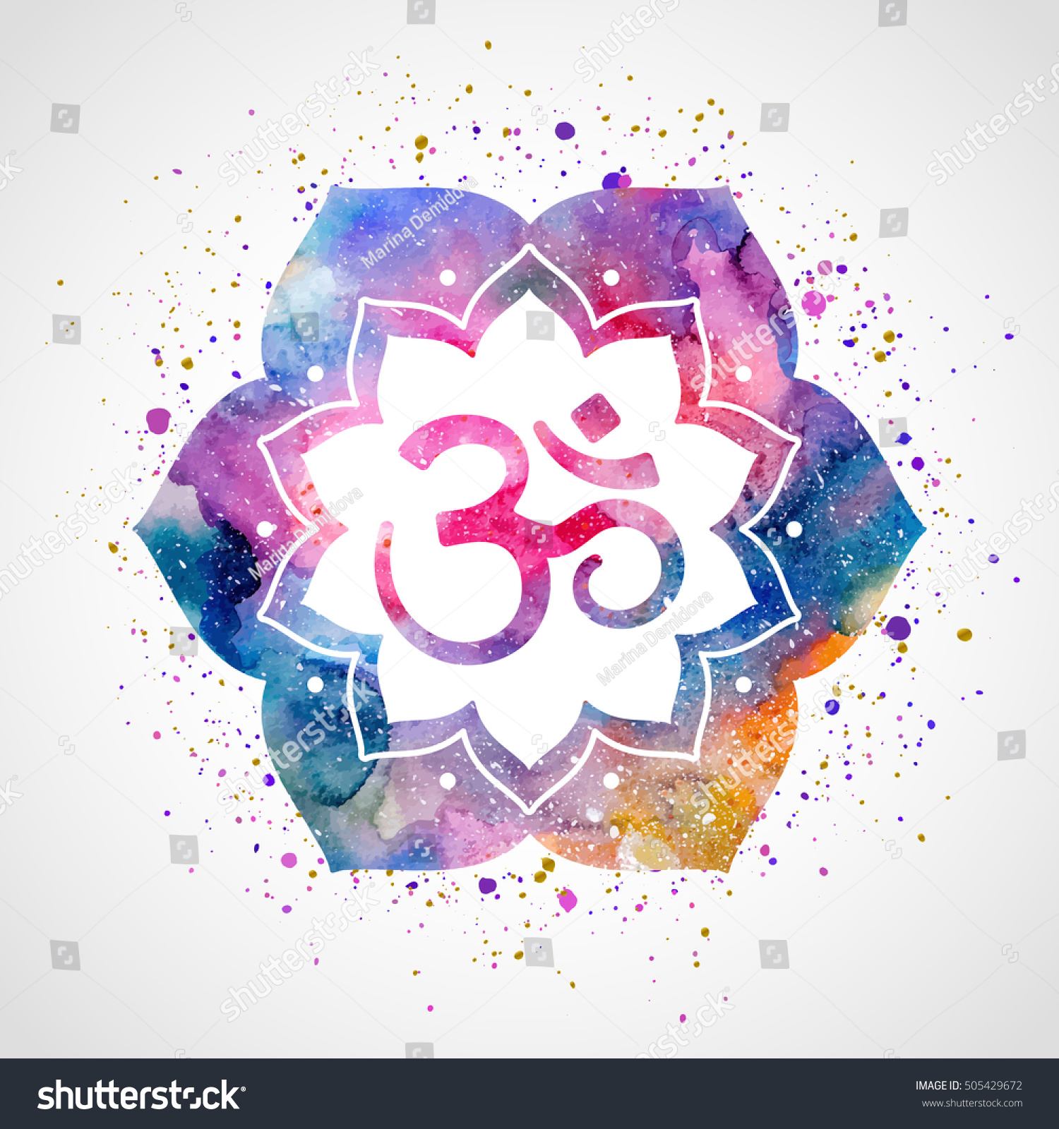 Om Sign Lotus Flower Vector Isolated Stock Vector Royalty Free