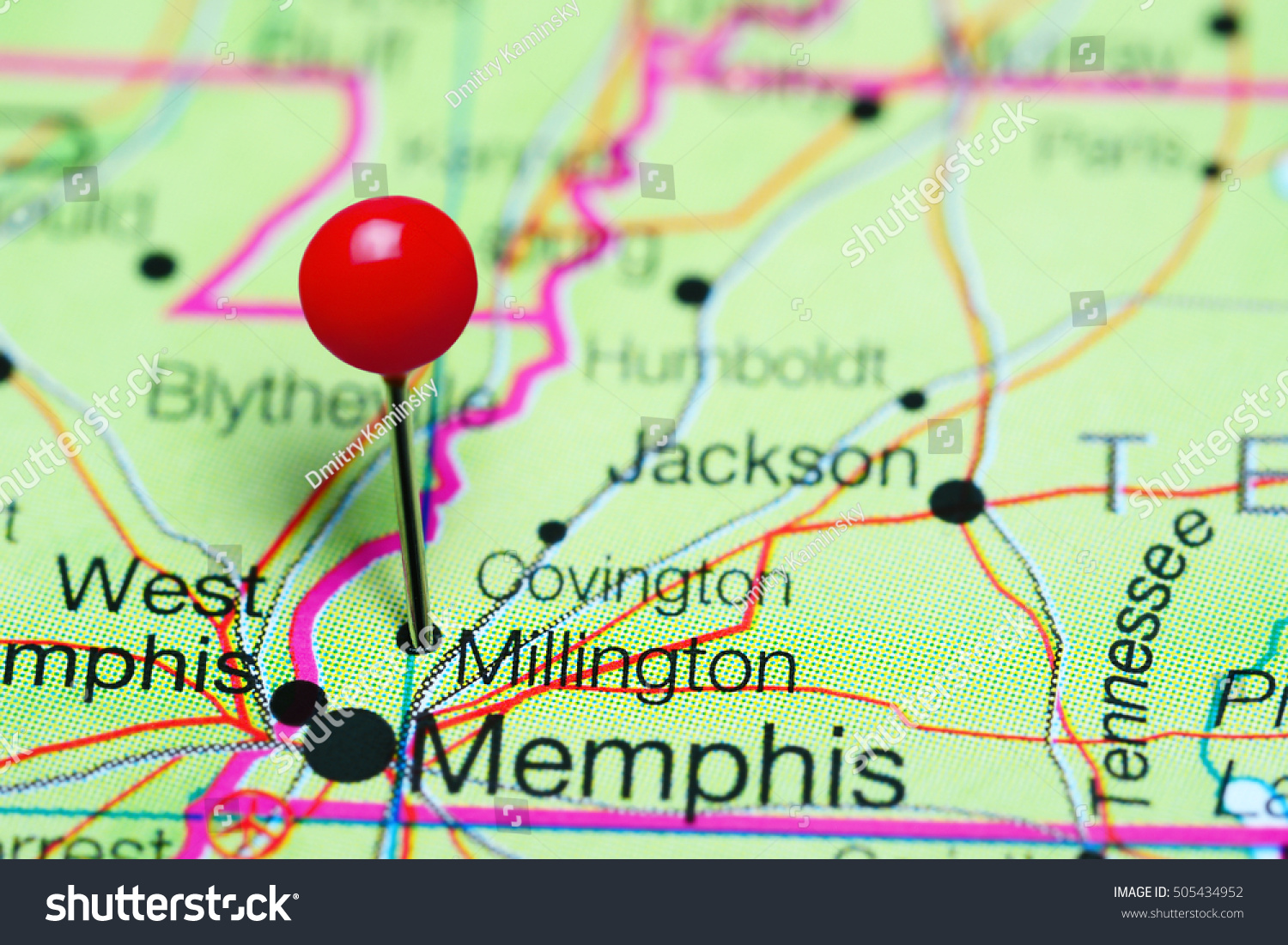 Millington Pinned On Map Tennessee USA Stock Photo (Edit Now ...