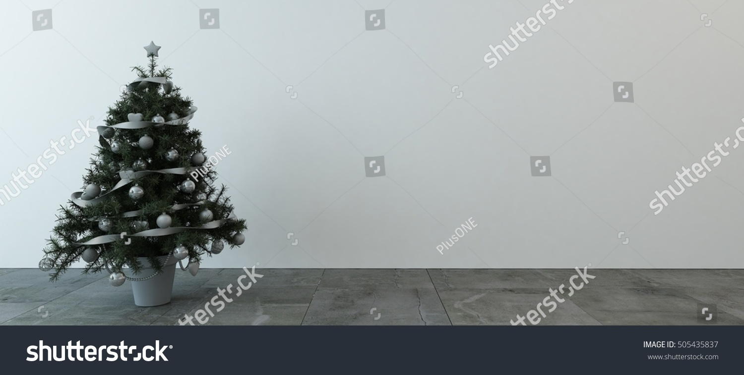 Little Green Indoor Christmas Tree Decorated Stock Illustration ...