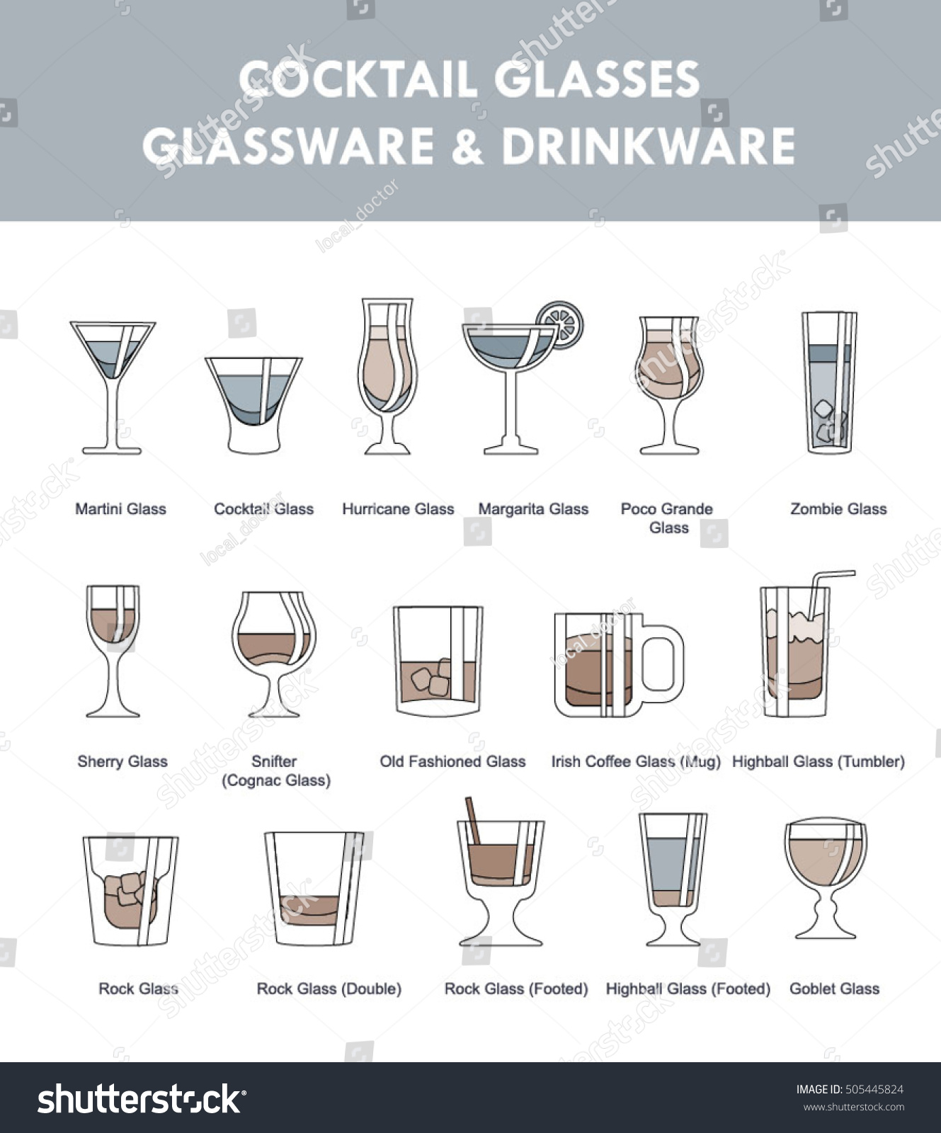 Amazing Set Of Icons Of Alcohol Drinks With Glasses Titles. Ultimate Bartender Guide,  Helper.