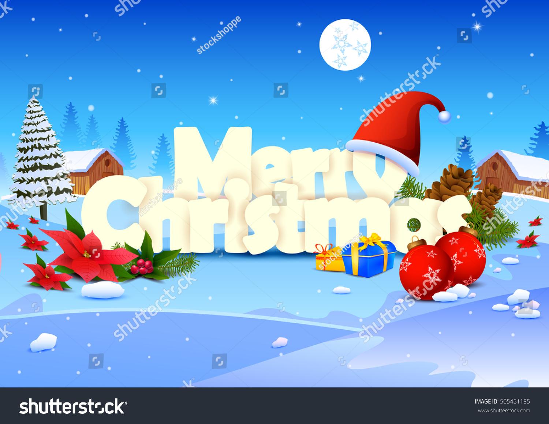 Vector Illustration Of Merry Christmas Wallpaper Background