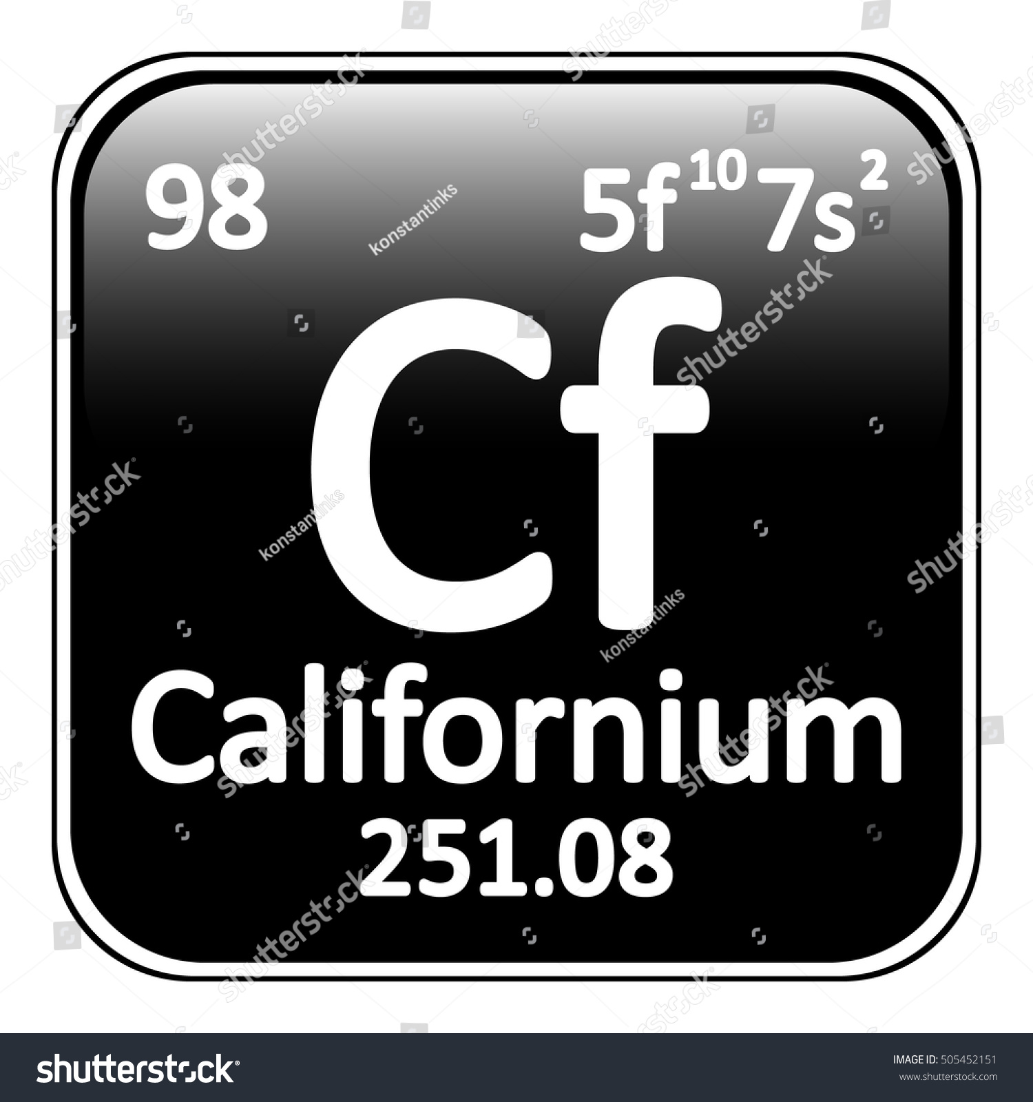 Periodic table element californium icon on stock vector 505452151 periodic table element californium icon on white background vector illustration gamestrikefo Images