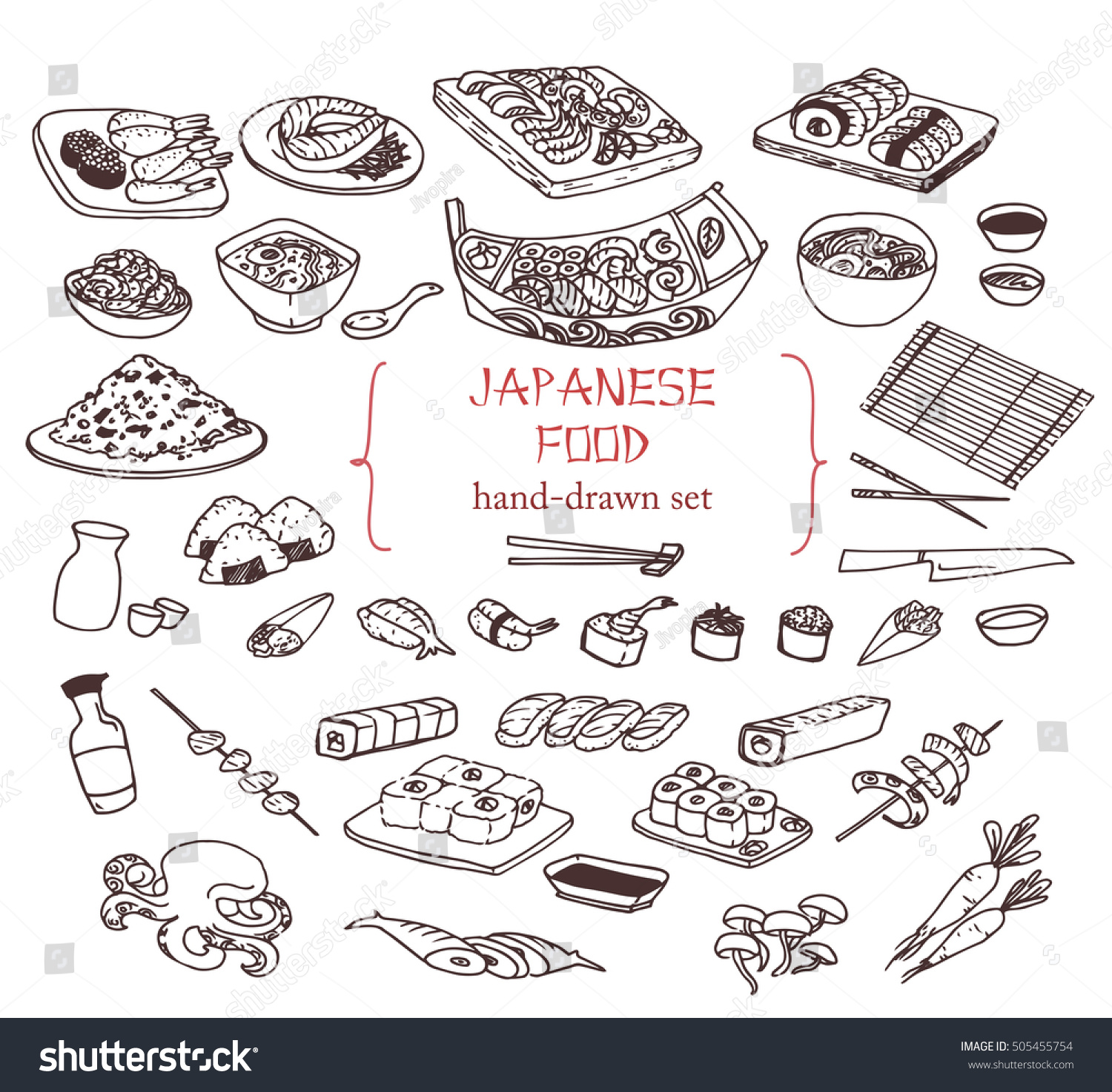 Line Art Food : Handdrawn collection different japanese food line stock