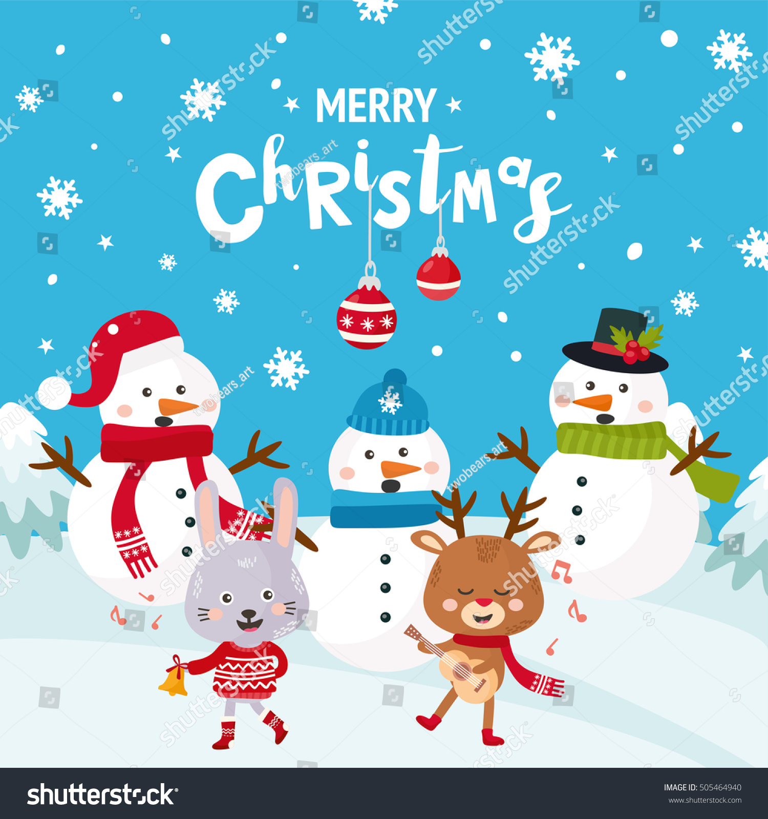Merry Christmas Greeting Card With A Cute Snowman Happy New Year