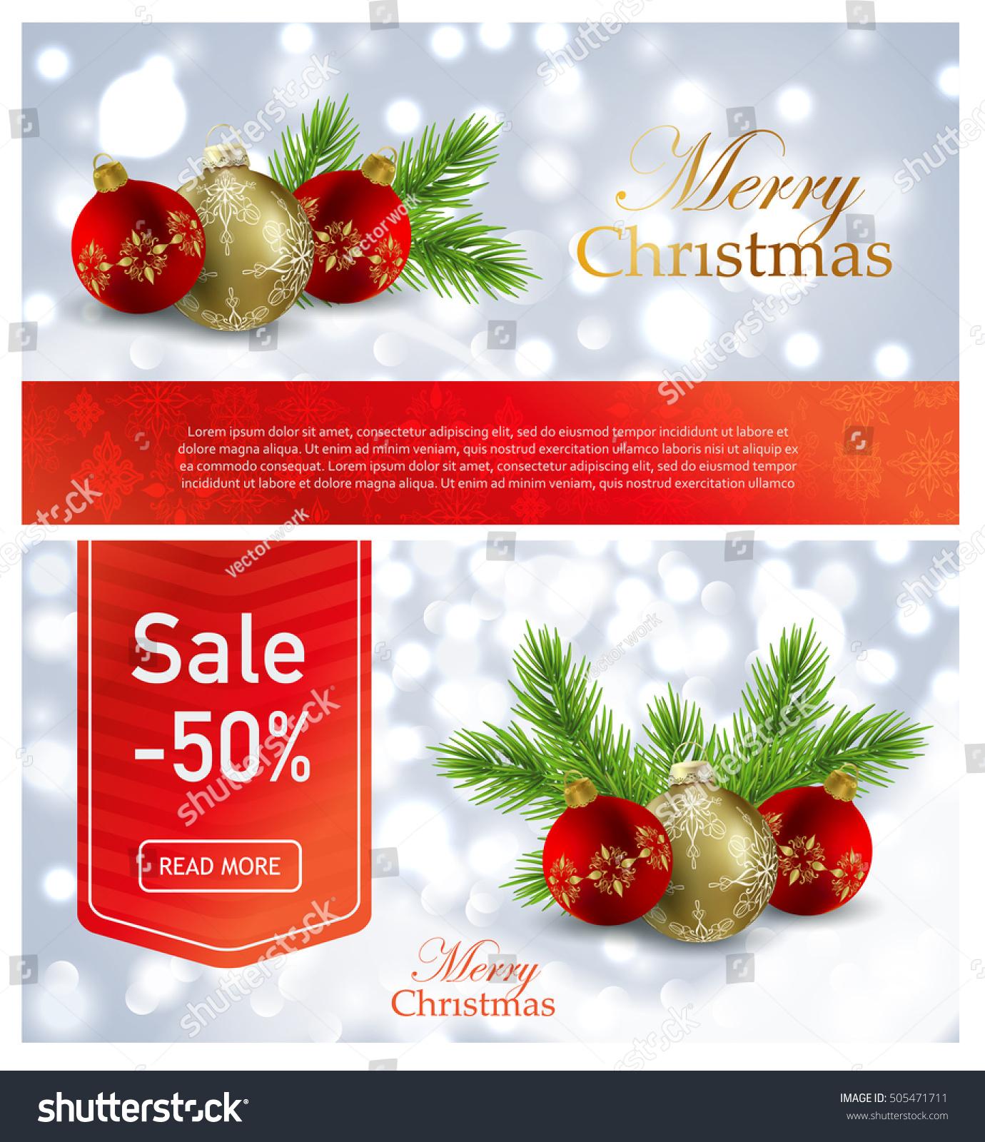 Christmas Discounts Banner Advertising Balls Christmas Stock  - Christmas Tree Discounts