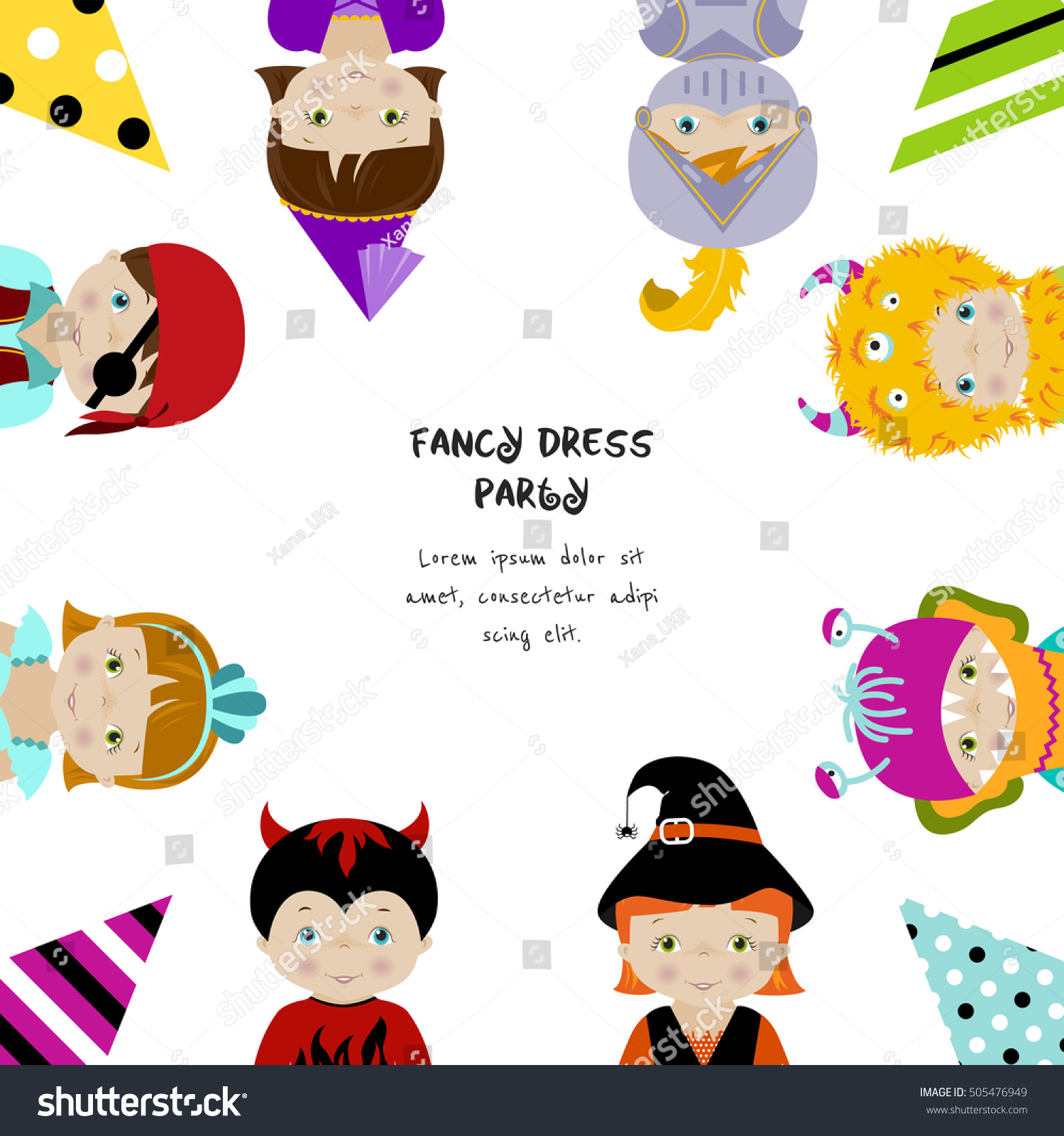 Square Background Fancy Dress Party Invitation Stock Vector ...